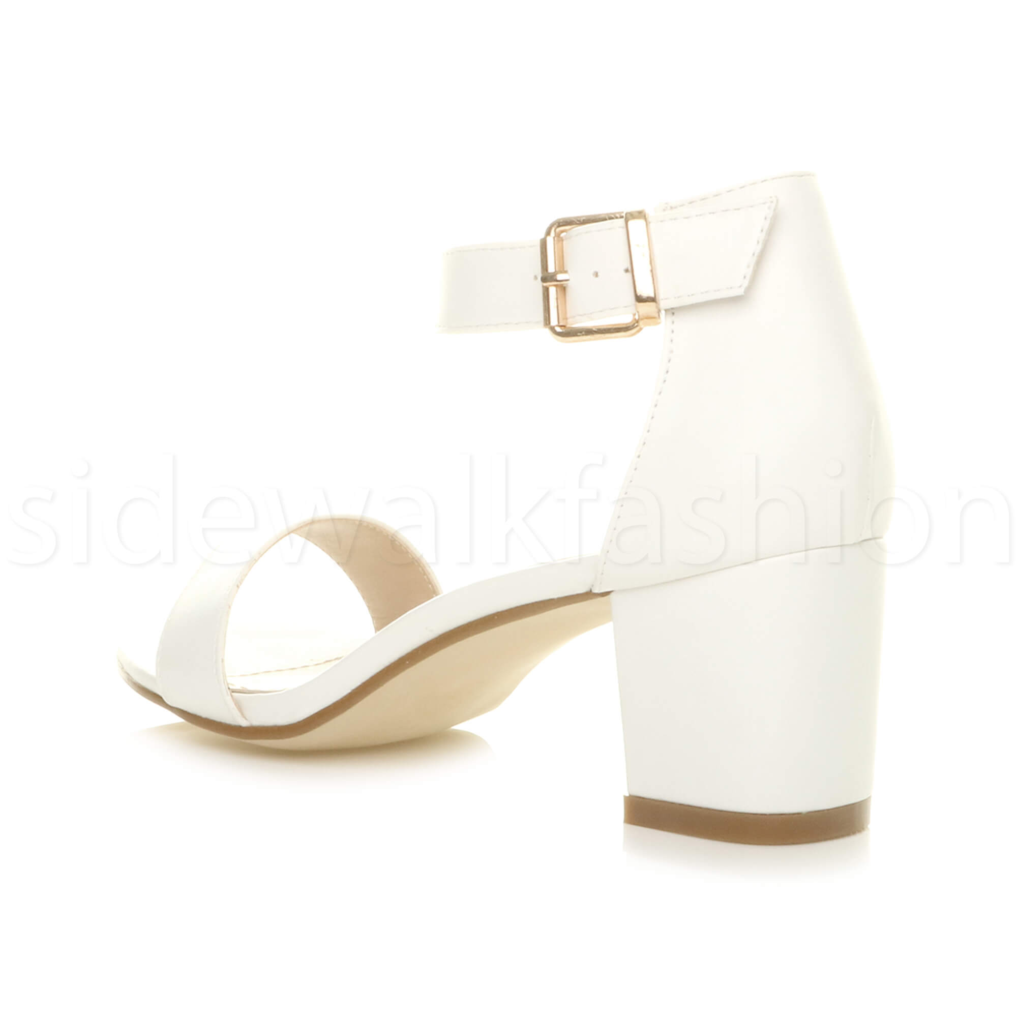 Womens-ladies-low-mid-heel-buckle-ankle-strap-peep-toe-party-strappy-sandal-size thumbnail 157