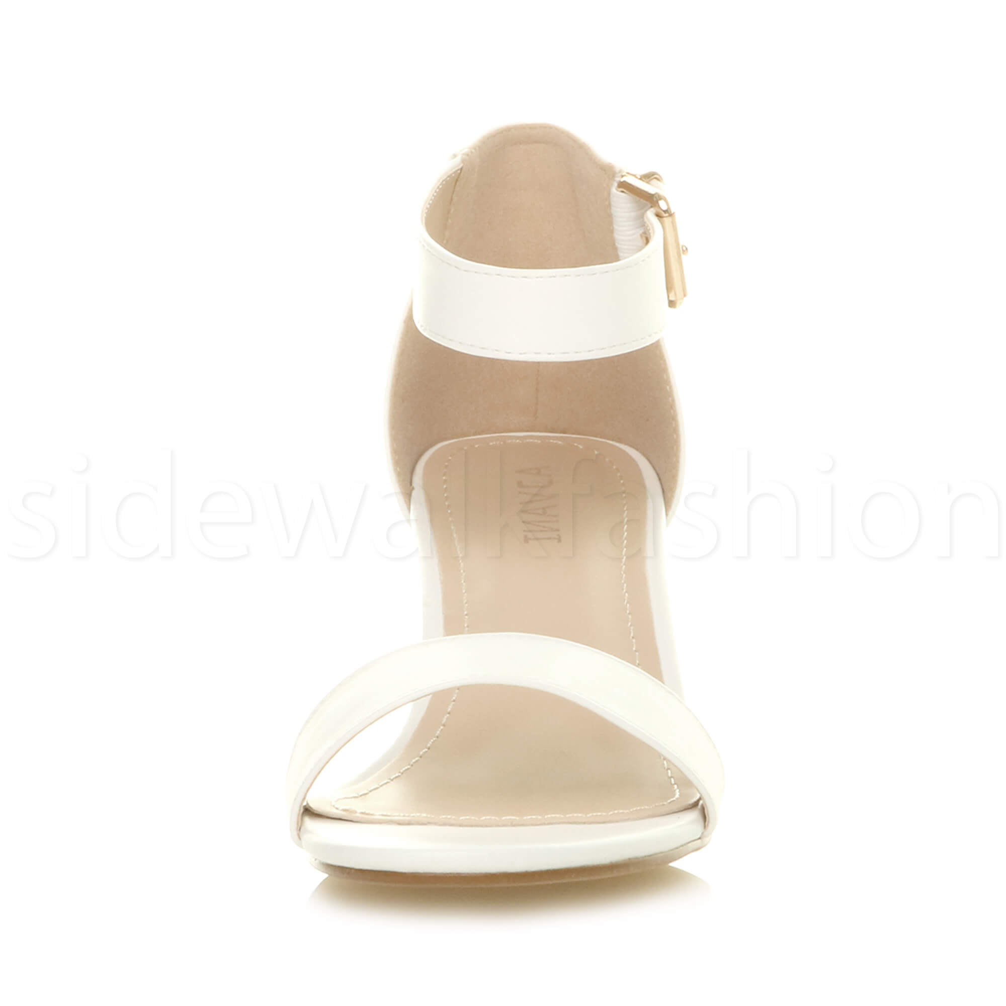 Womens-ladies-low-mid-heel-buckle-ankle-strap-peep-toe-party-strappy-sandal-size thumbnail 158