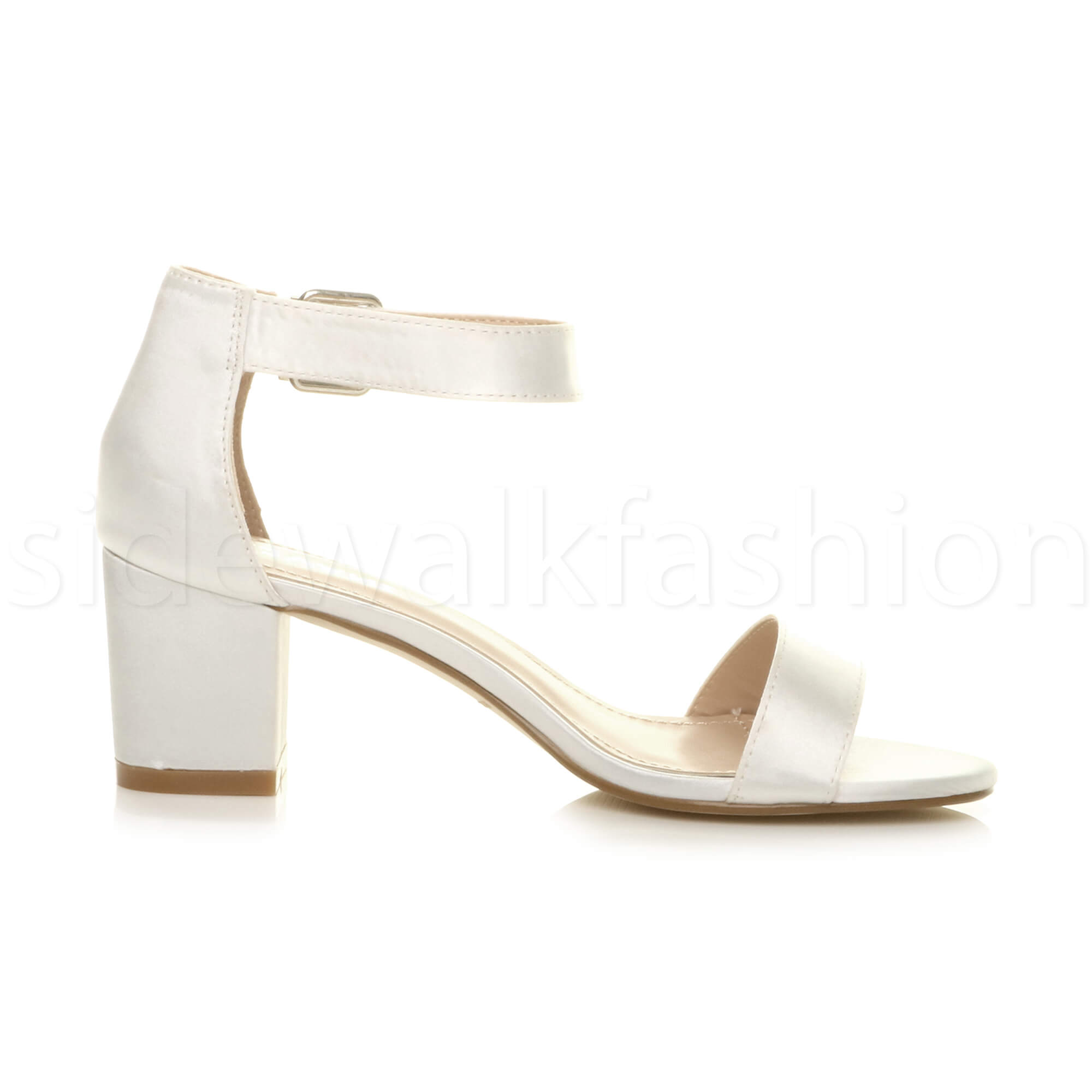 Womens-ladies-low-mid-heel-buckle-ankle-strap-peep-toe-party-strappy-sandal-size thumbnail 163