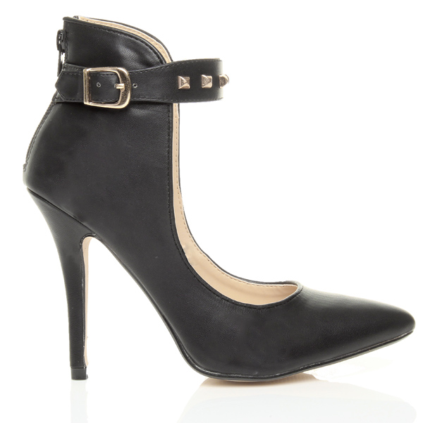 Womens-ladies-high-stiletto-heel-ankle-cuff-studded-strap-party-court-shoes-size thumbnail 3