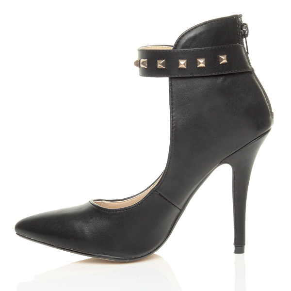 Womens-ladies-high-stiletto-heel-ankle-cuff-studded-strap-party-court-shoes-size thumbnail 4