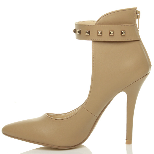 Womens-ladies-high-stiletto-heel-ankle-cuff-studded-strap-party-court-shoes-size thumbnail 9