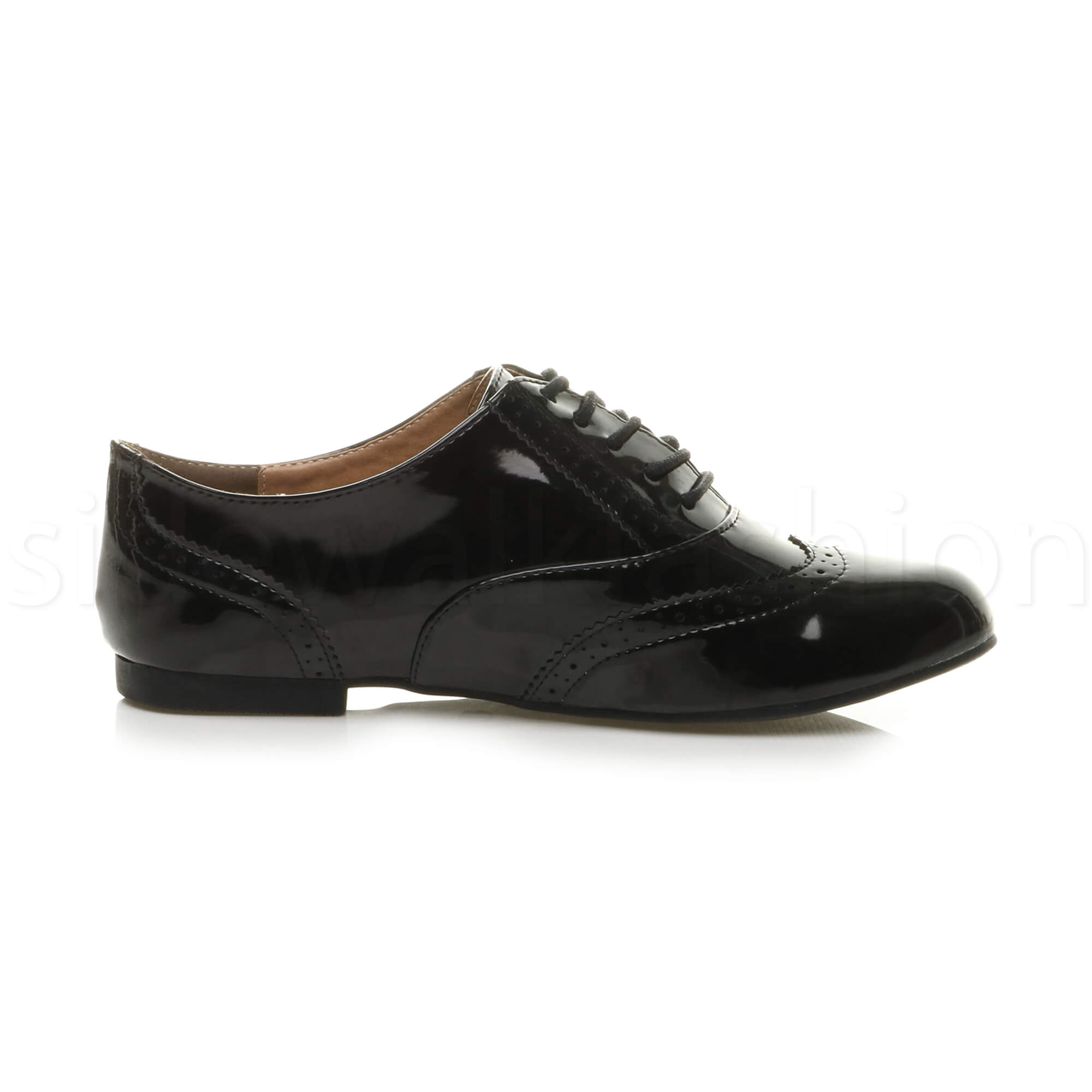 Womens-ladies-casual-brogue-lace-up-vintage-flat-shoes-size