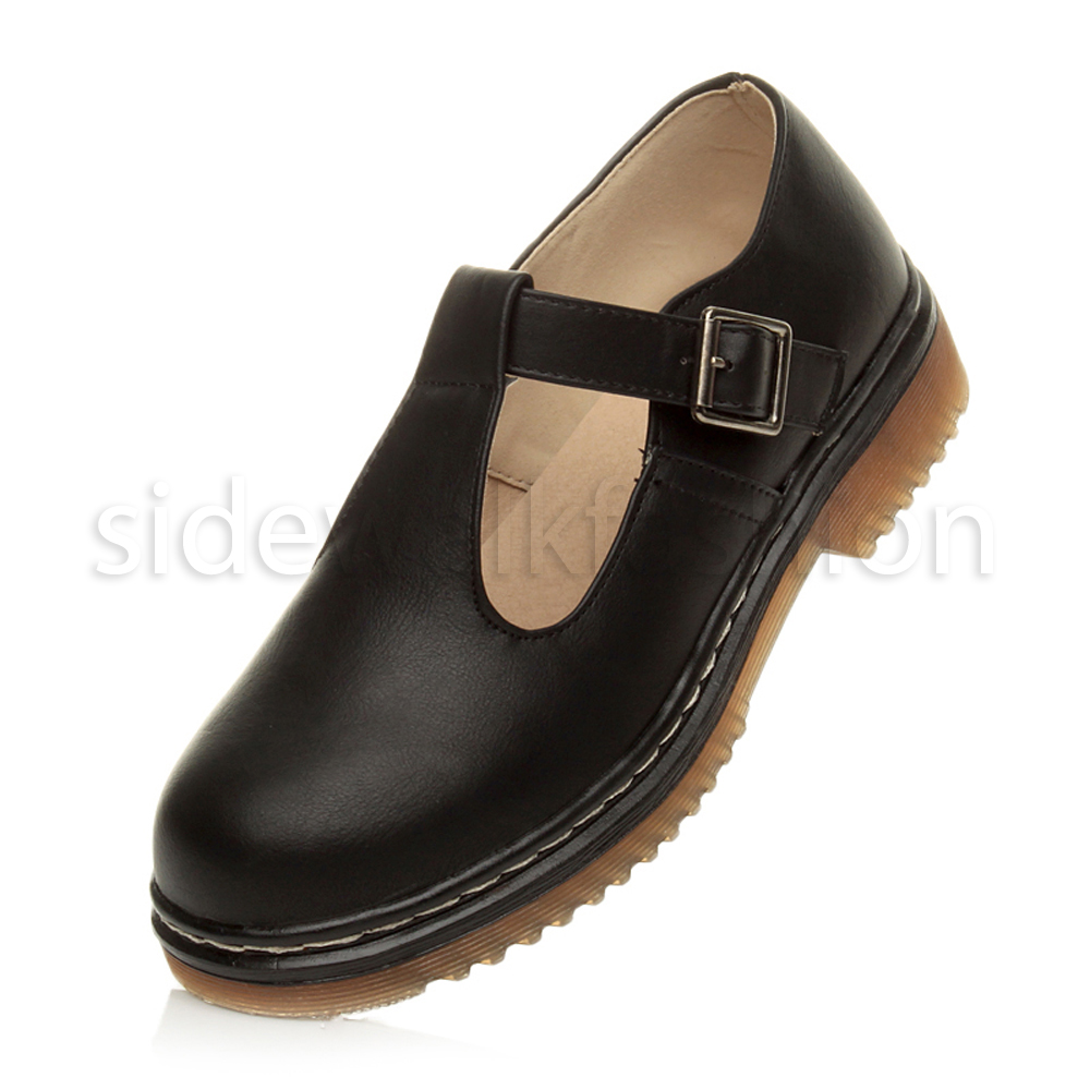 Black Chunky T Bar Shoes