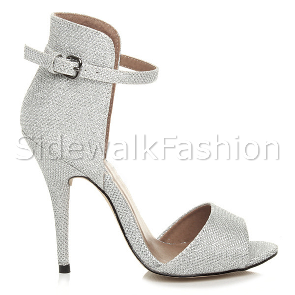 c1c454849eb Womens ladies high heel strappy ankle cuff party evening sandals ...