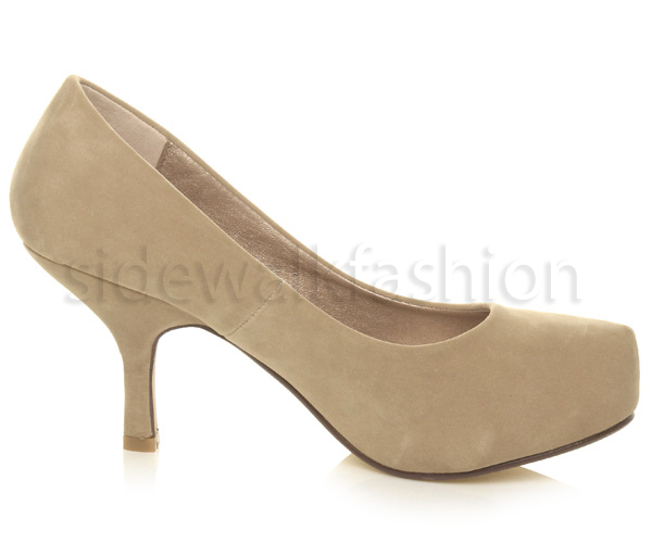 Womens-ladies-low-mid-heel-concealed-platform-work-party-court-shoes-pumps-size thumbnail 34
