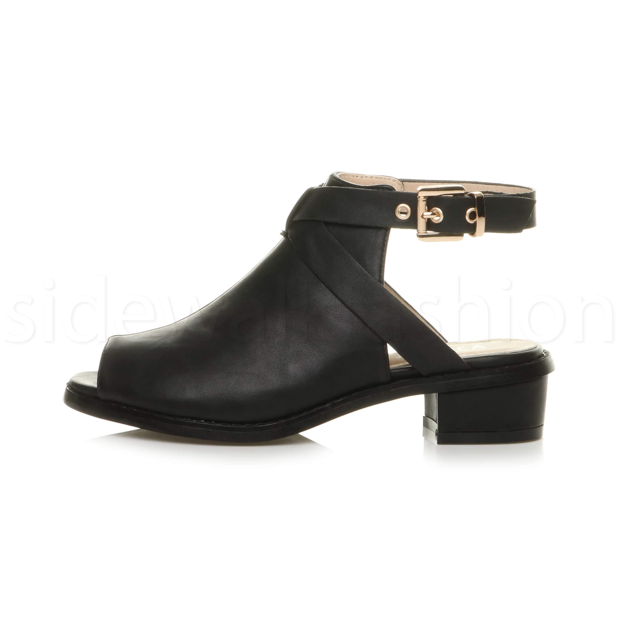 Womens-ladies-low-mid-heel-strap-open-backless-peep-toe-boots-sandals-shoes-size thumbnail 3