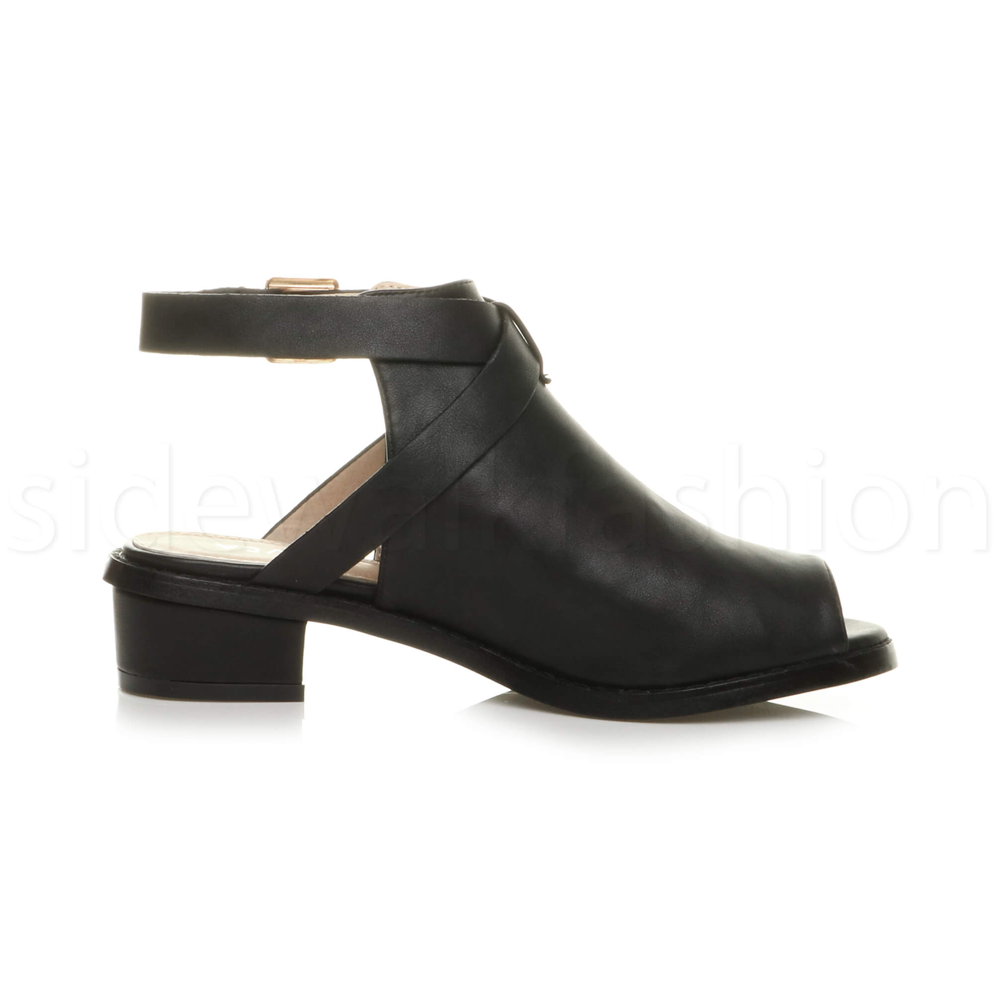 Womens-ladies-low-mid-heel-strap-open-backless-peep-toe-boots-sandals-shoes-size thumbnail 4
