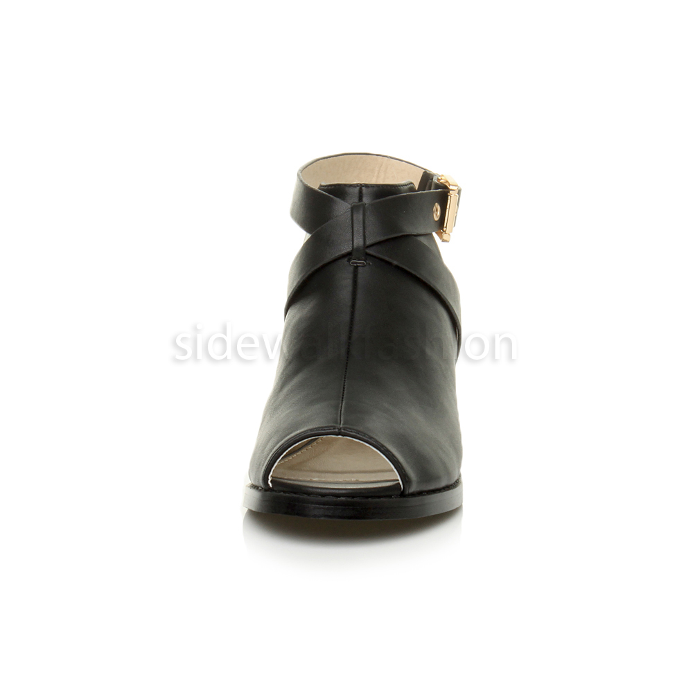 Womens-ladies-low-mid-heel-strap-open-backless-peep-toe-boots-sandals-shoes-size thumbnail 6
