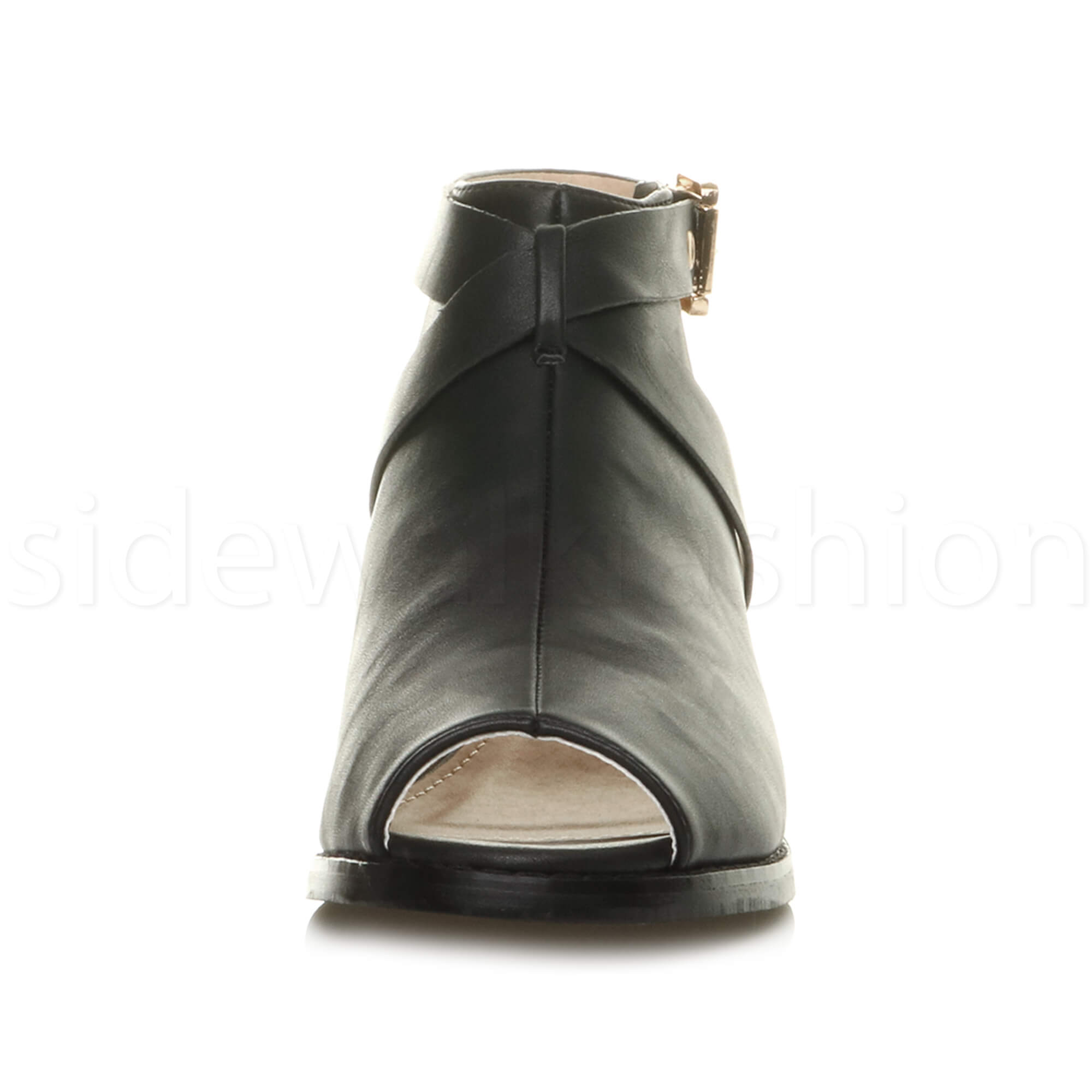 Womens-ladies-low-mid-heel-strap-open-backless-peep-toe-boots-sandals-shoes-size thumbnail 7