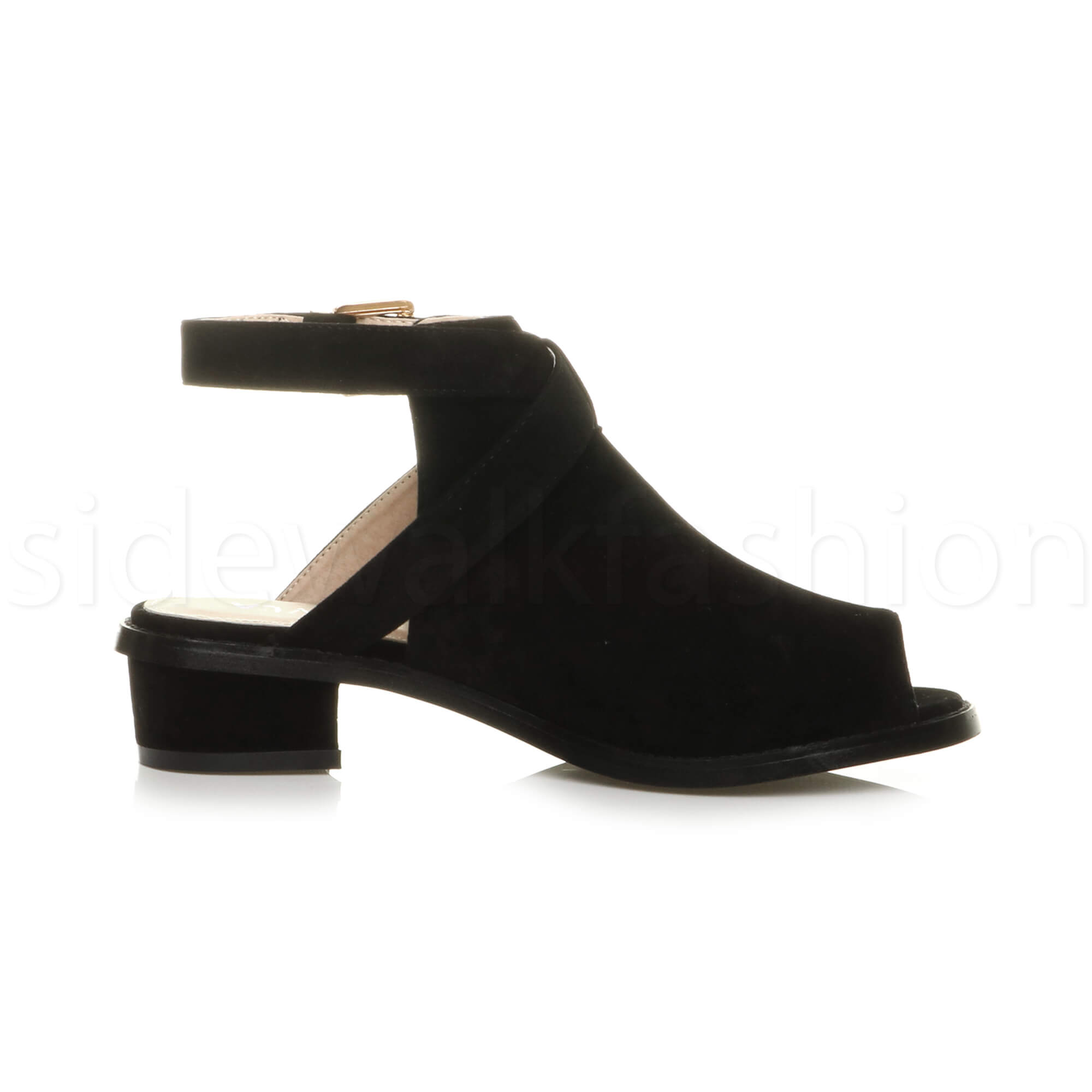 Womens-ladies-low-mid-heel-strap-open-backless-peep-toe-boots-sandals-shoes-size thumbnail 11