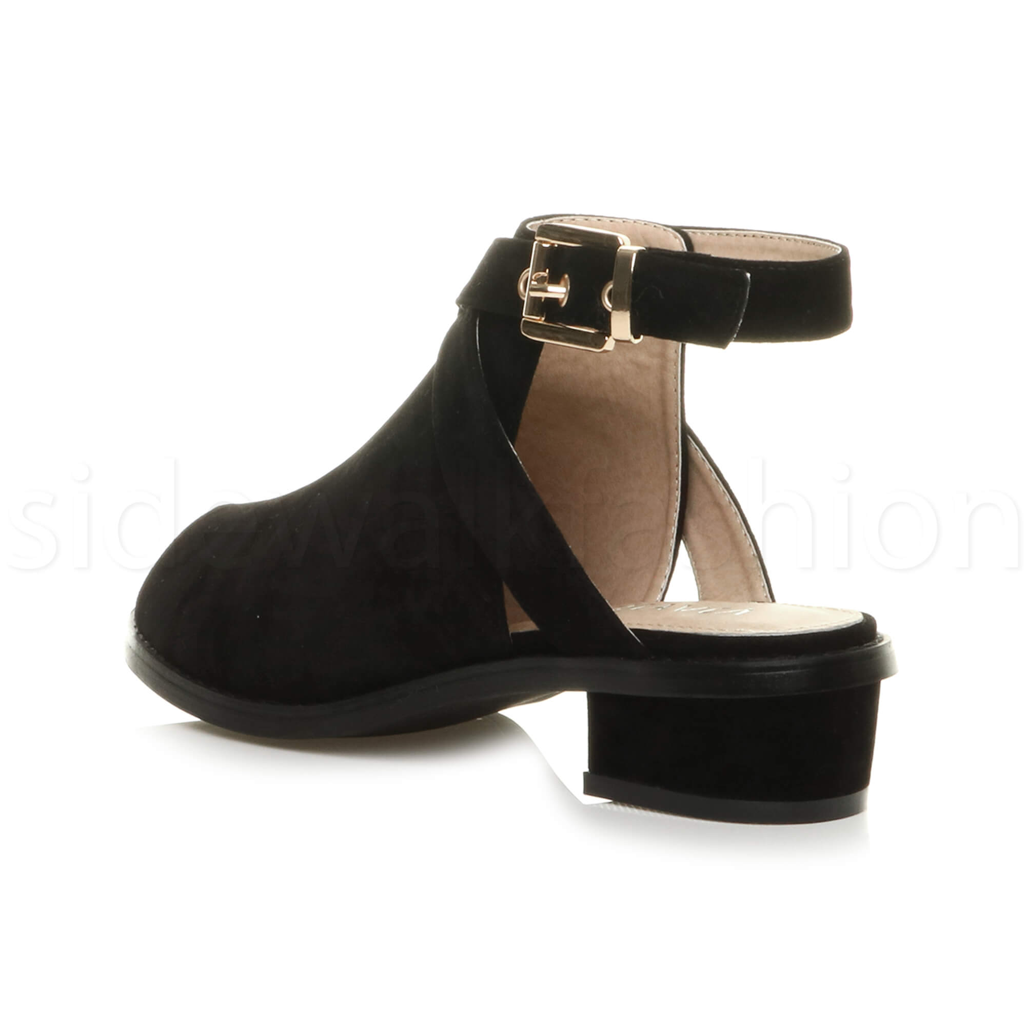 Womens-ladies-low-mid-heel-strap-open-backless-peep-toe-boots-sandals-shoes-size thumbnail 12