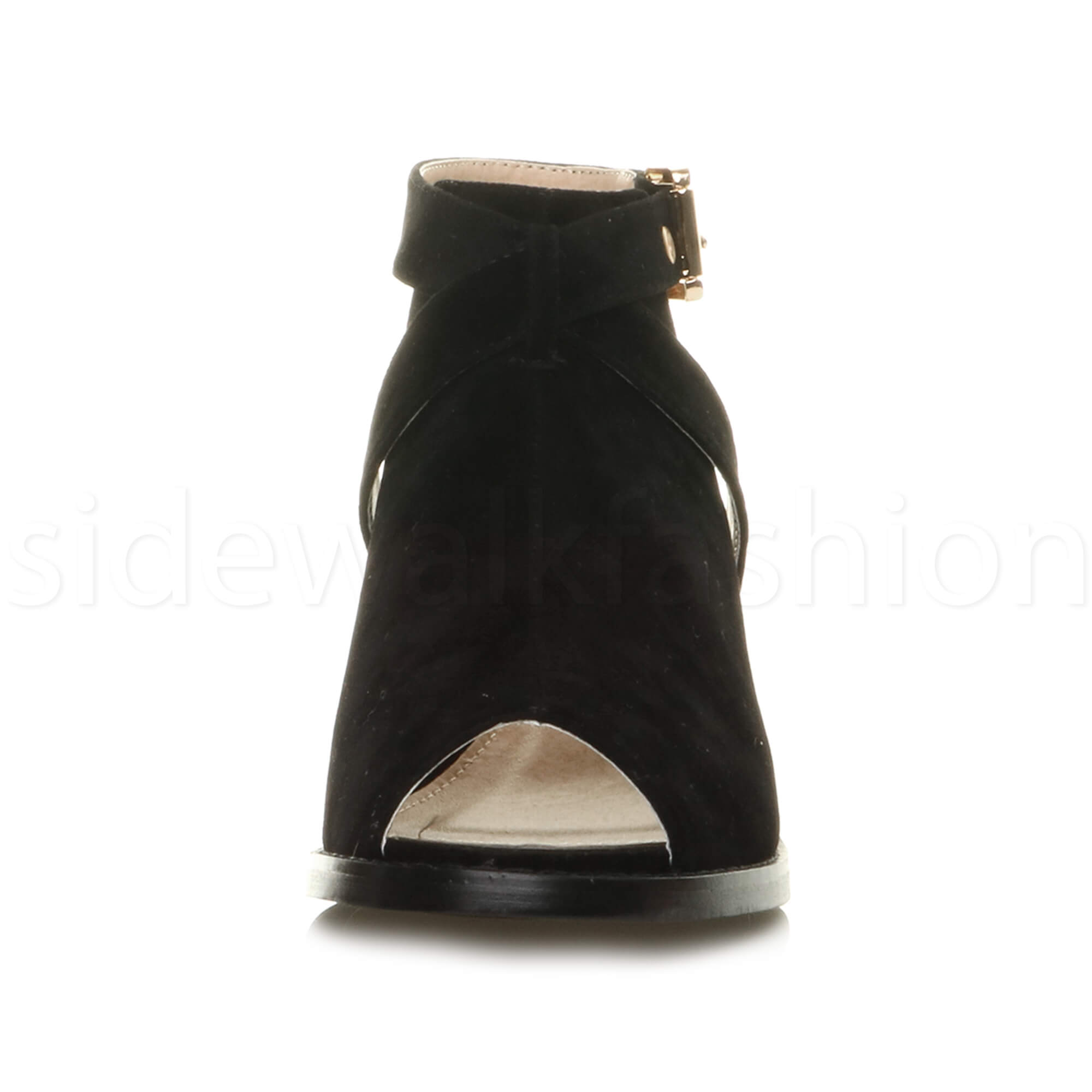 Womens-ladies-low-mid-heel-strap-open-backless-peep-toe-boots-sandals-shoes-size thumbnail 13