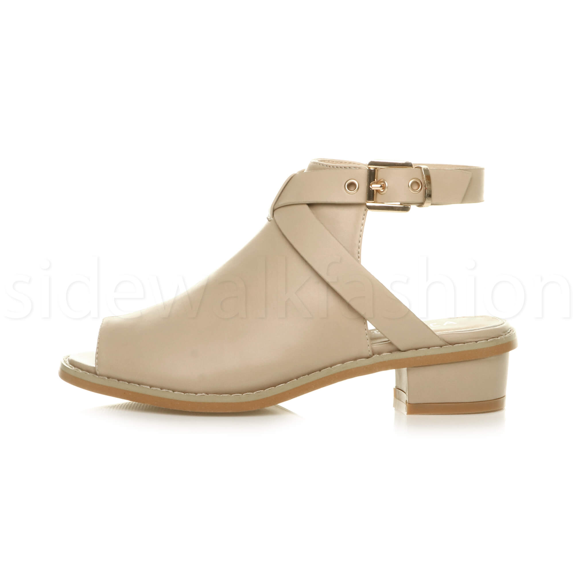 Womens-ladies-low-mid-heel-strap-open-backless-peep-toe-boots-sandals-shoes-size thumbnail 16