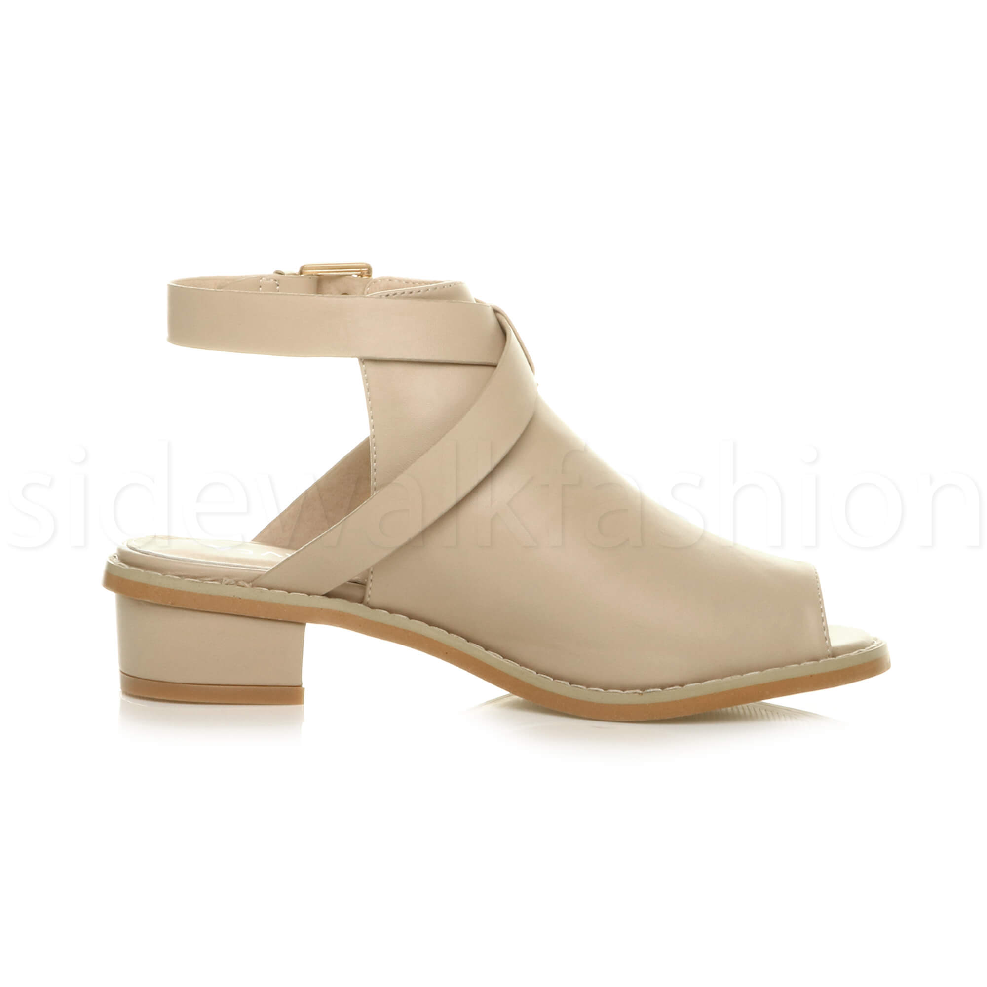 Womens-ladies-low-mid-heel-strap-open-backless-peep-toe-boots-sandals-shoes-size thumbnail 17