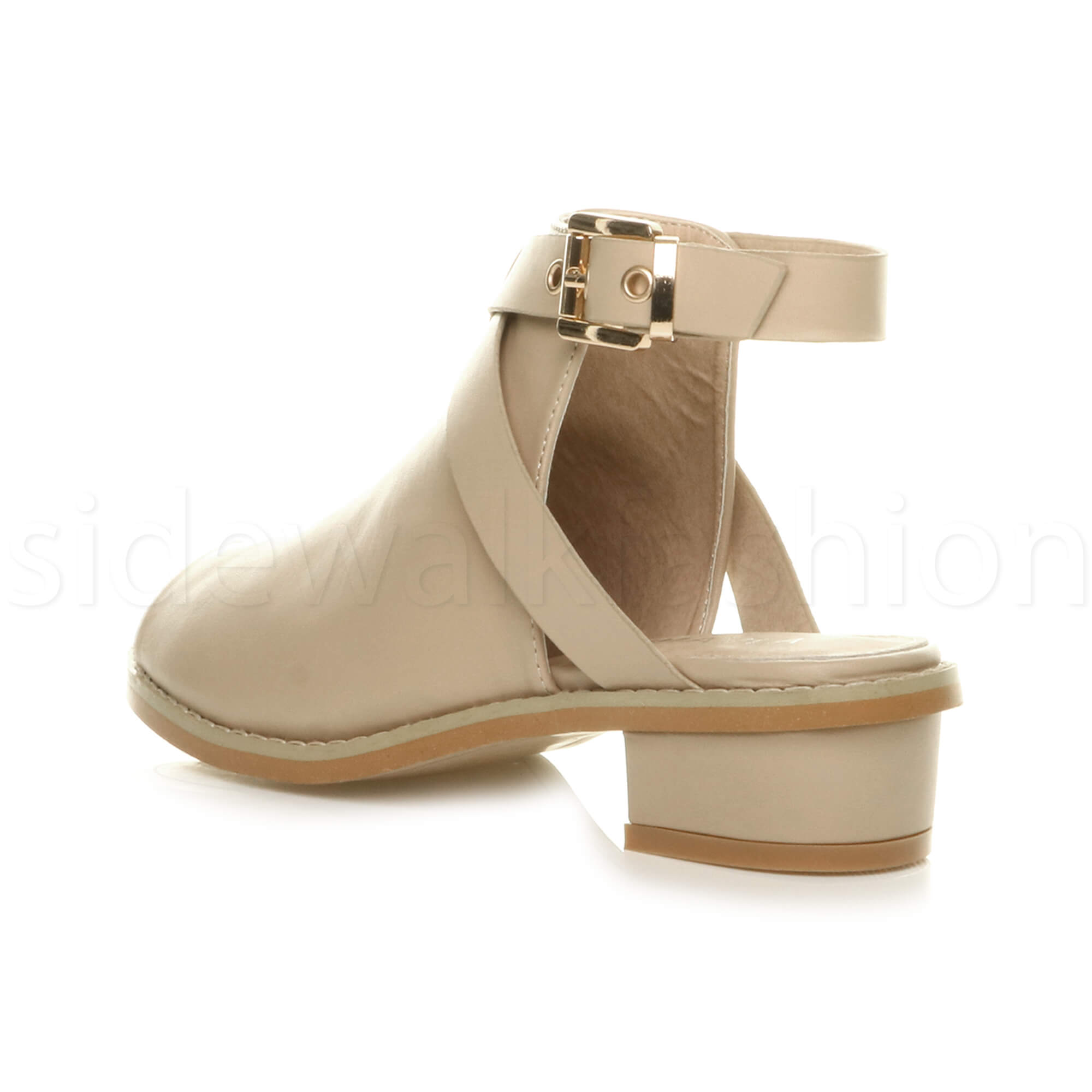Womens-ladies-low-mid-heel-strap-open-backless-peep-toe-boots-sandals-shoes-size thumbnail 18