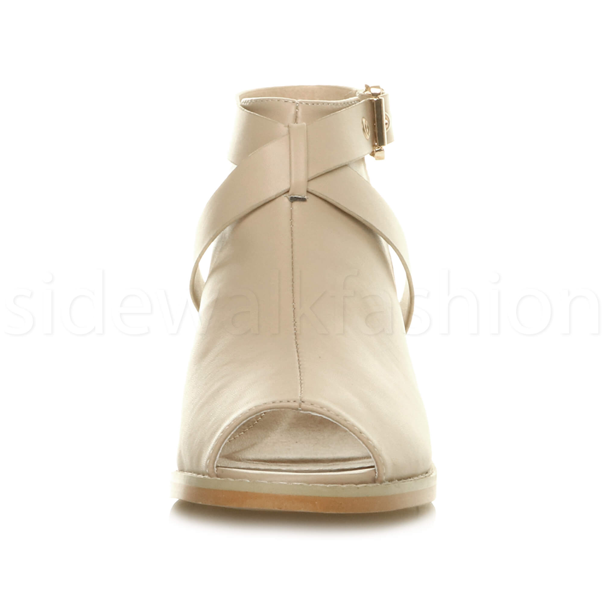 Womens-ladies-low-mid-heel-strap-open-backless-peep-toe-boots-sandals-shoes-size thumbnail 19