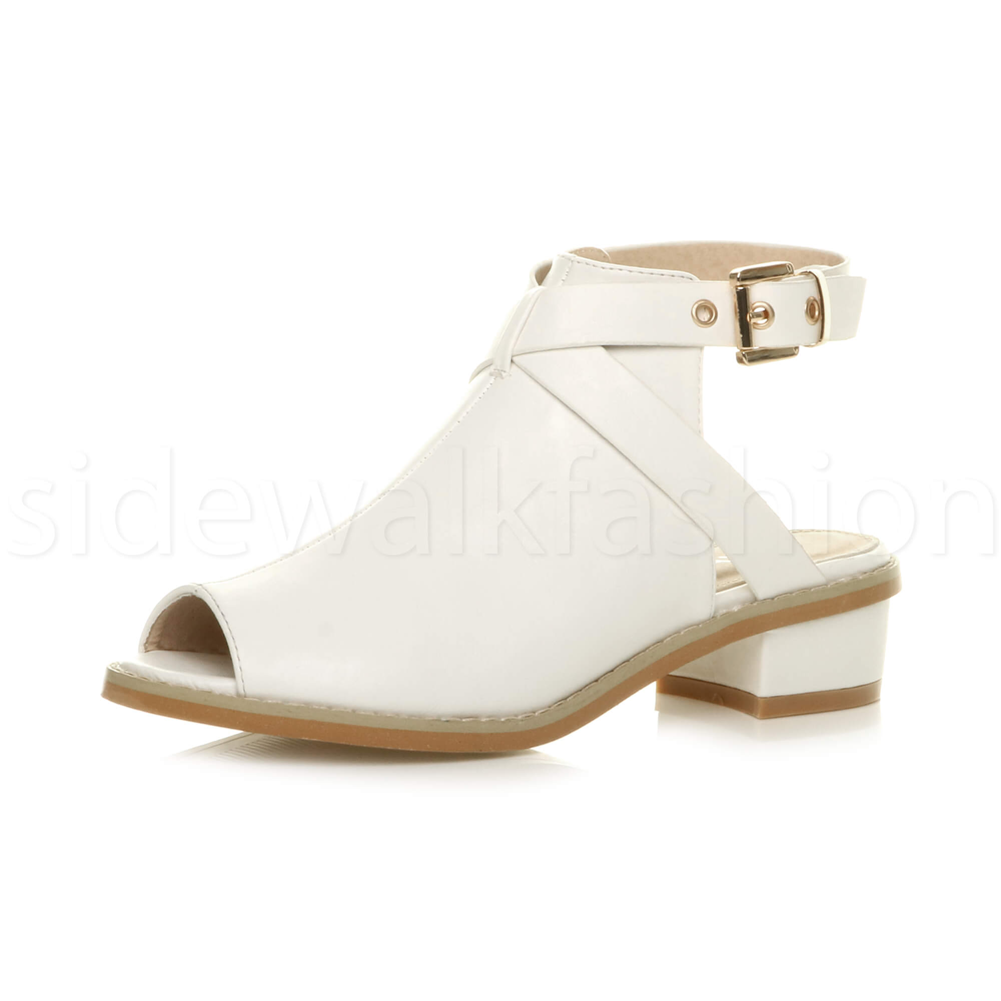 Womens-ladies-low-mid-heel-strap-open-backless-peep-toe-boots-sandals-shoes-size