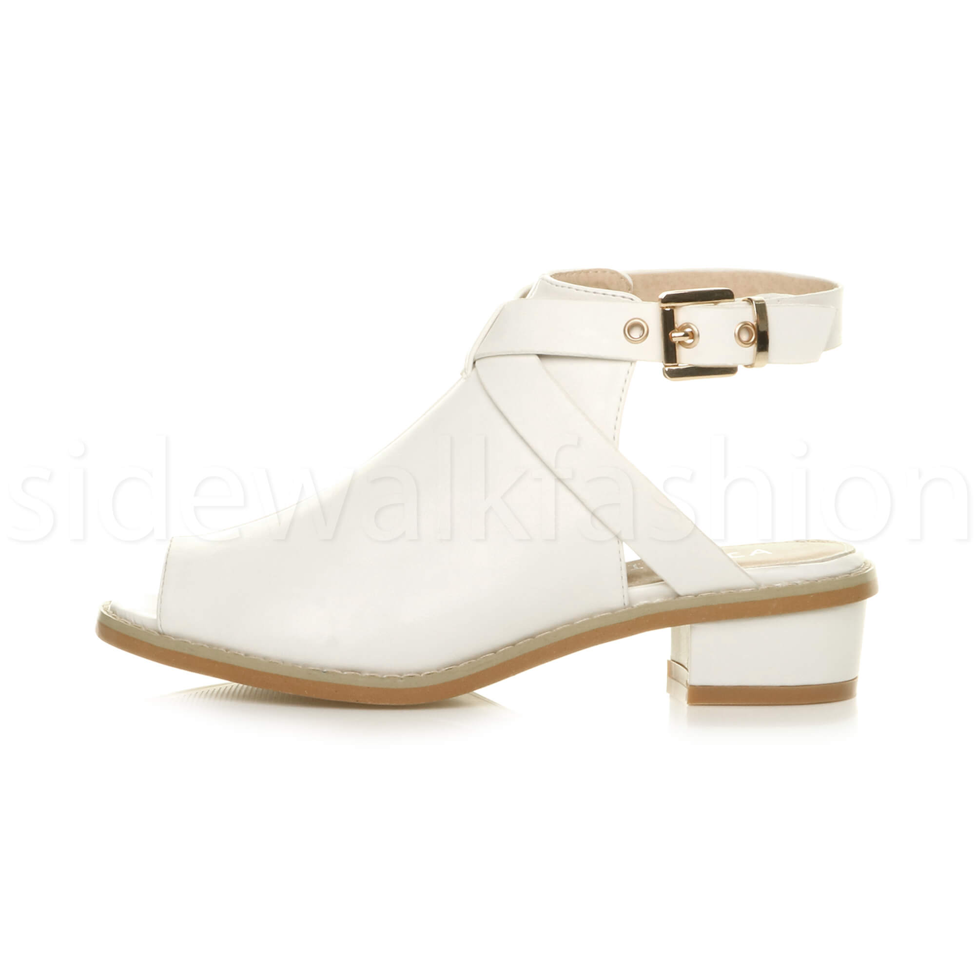 Womens-ladies-low-mid-heel-strap-open-backless-peep-toe-boots-sandals-shoes-size thumbnail 22