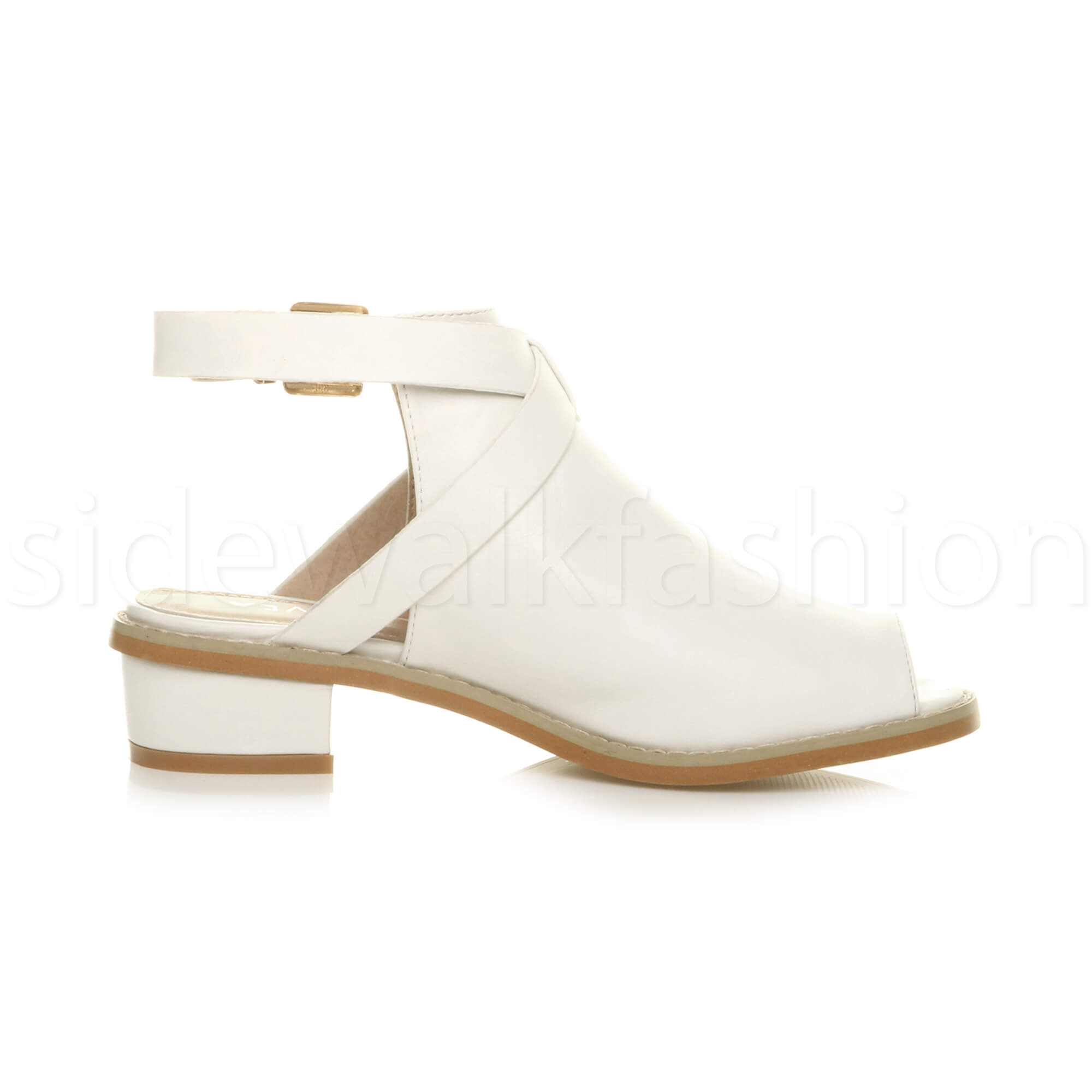 Womens-ladies-low-mid-heel-strap-open-backless-peep-toe-boots-sandals-shoes-size thumbnail 23