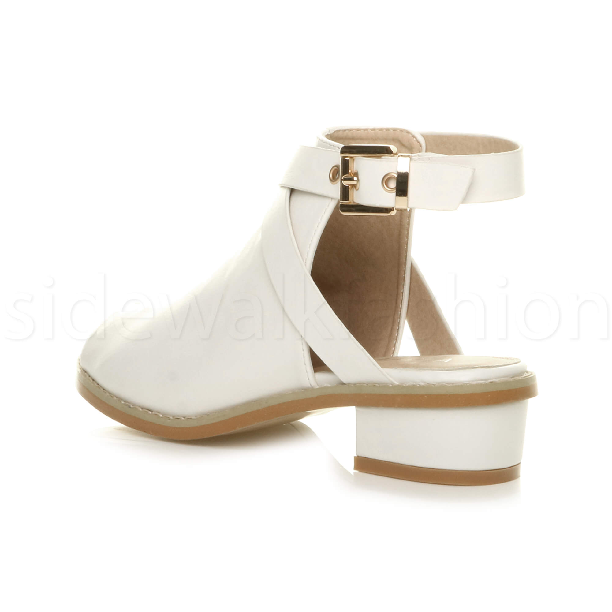Womens-ladies-low-mid-heel-strap-open-backless-peep-toe-boots-sandals-shoes-size thumbnail 24