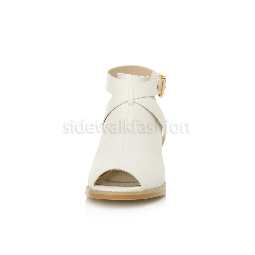 Womens-ladies-low-mid-heel-strap-open-backless-peep-toe-boots-sandals-shoes-size thumbnail 25