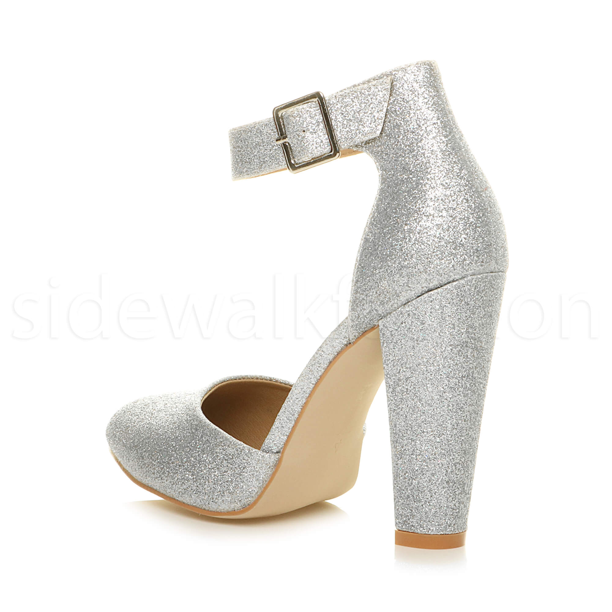 7f220f5482f7 Womens ladies high block heel ankle strap buckle pointed .