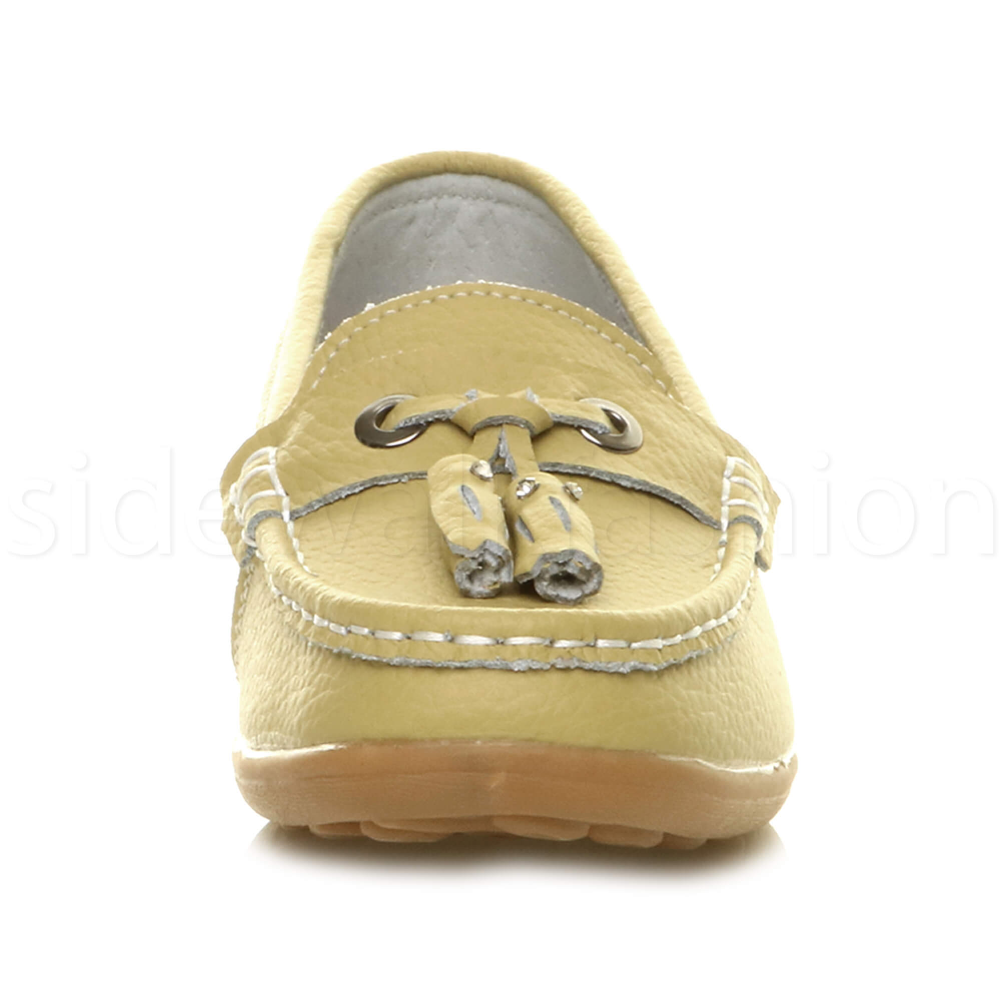 Womens-ladies-low-heel-moccasins-leather-tassel-loafers-comfort-boat-shoes-size