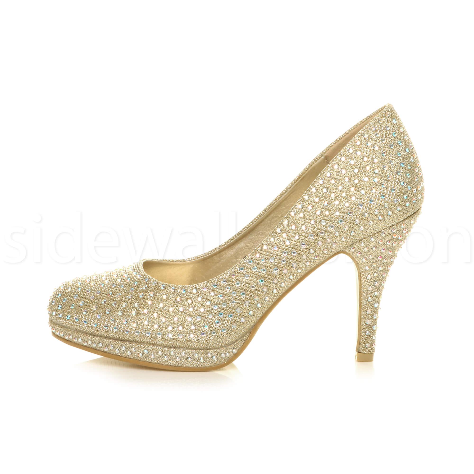 Womens-ladies-high-mid-heel-platform-wedding-evening-bridesmaid-court-shoes-size thumbnail 73