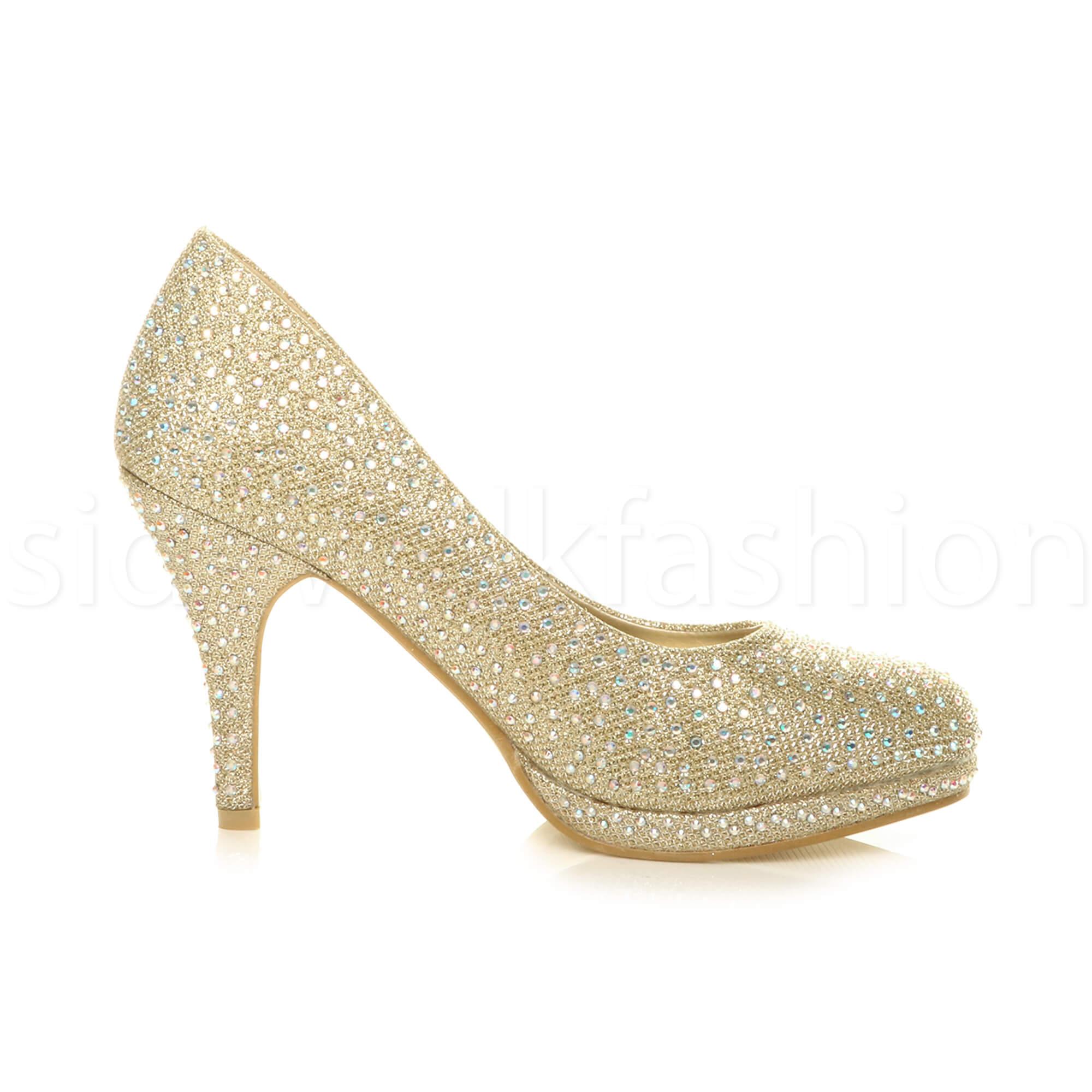 Womens-ladies-high-mid-heel-platform-wedding-evening-bridesmaid-court-shoes-size thumbnail 74