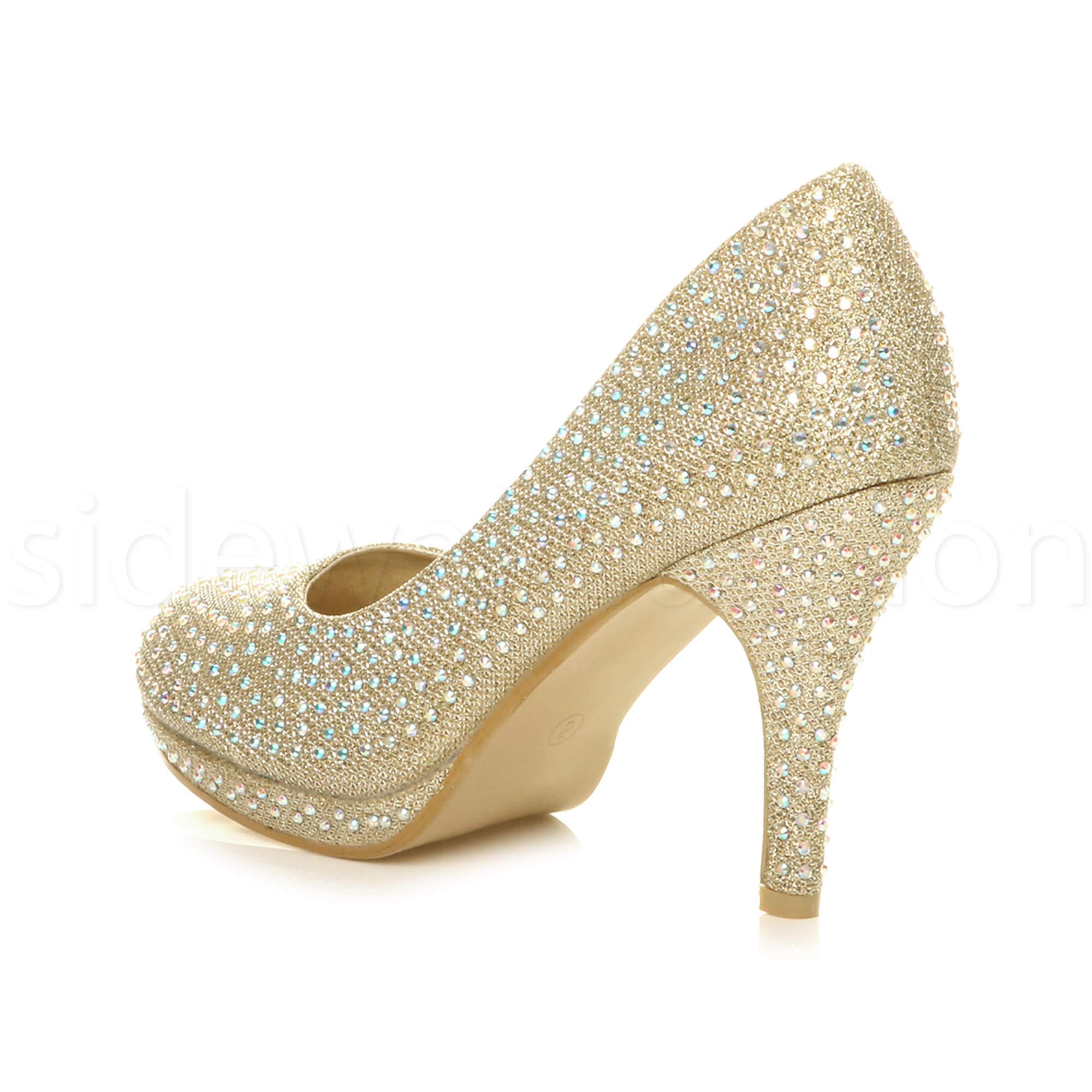 Womens-ladies-high-mid-heel-platform-wedding-evening-bridesmaid-court-shoes-size thumbnail 75
