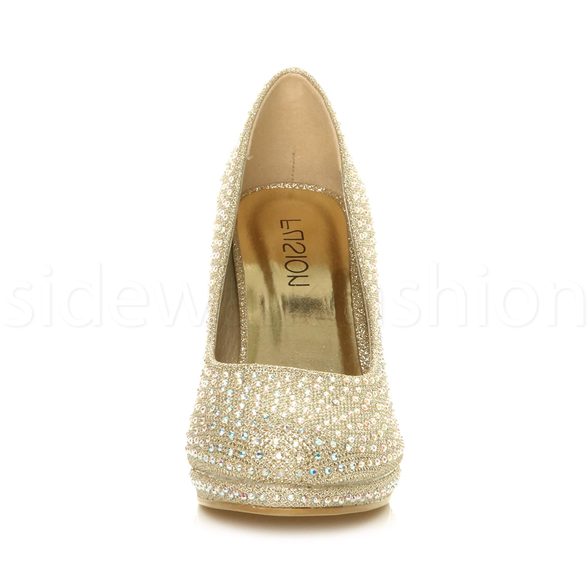 Womens-ladies-high-mid-heel-platform-wedding-evening-bridesmaid-court-shoes-size thumbnail 76