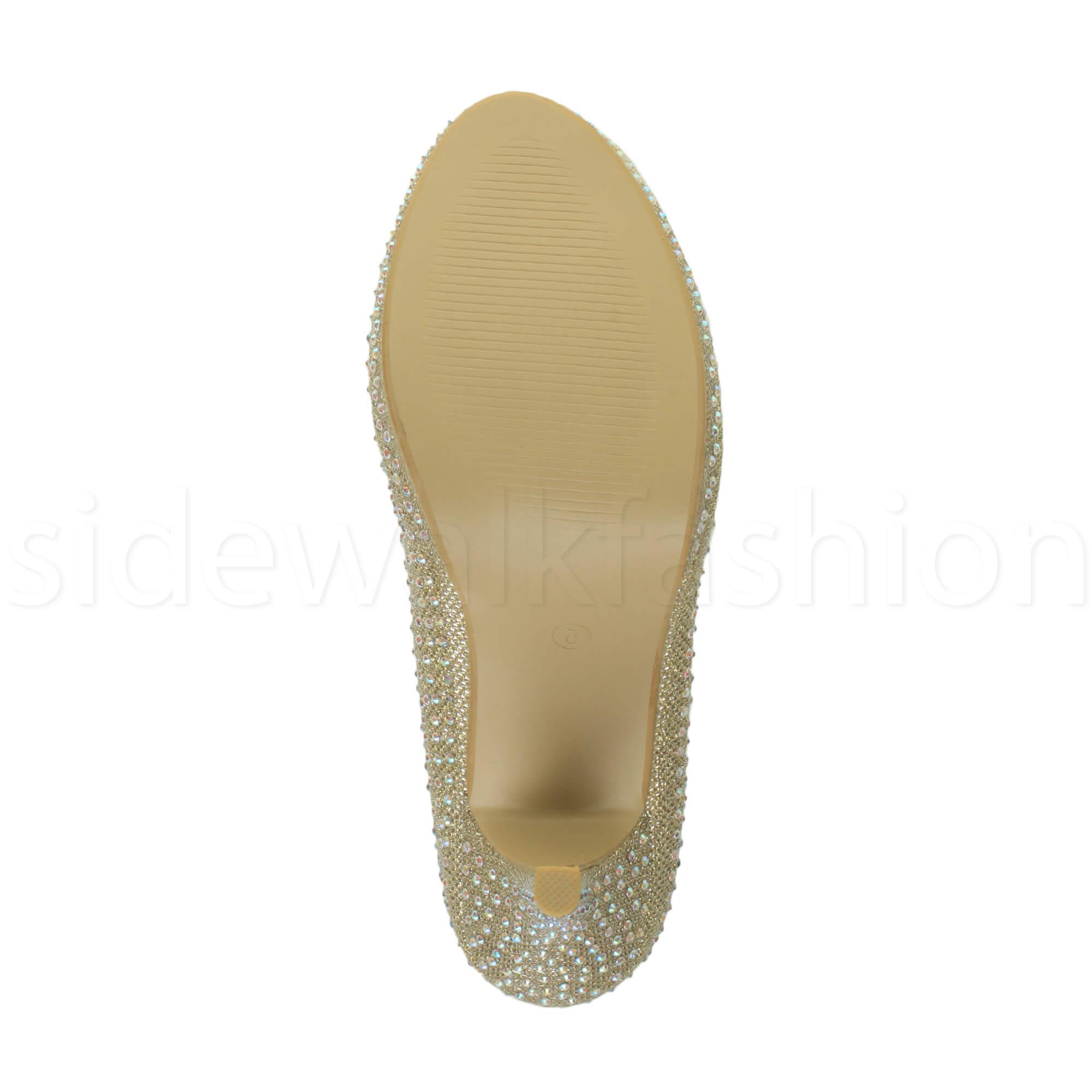 Womens-ladies-high-mid-heel-platform-wedding-evening-bridesmaid-court-shoes-size thumbnail 78
