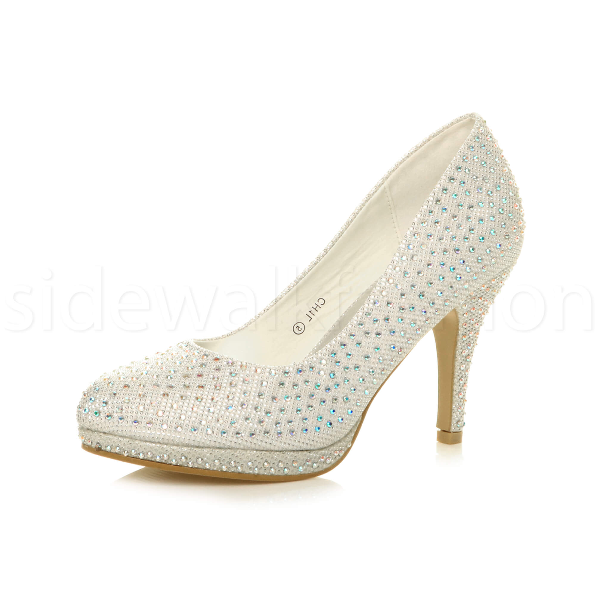 Womens-ladies-high-mid-heel-platform-wedding-evening-bridesmaid-court-shoes-size thumbnail 86