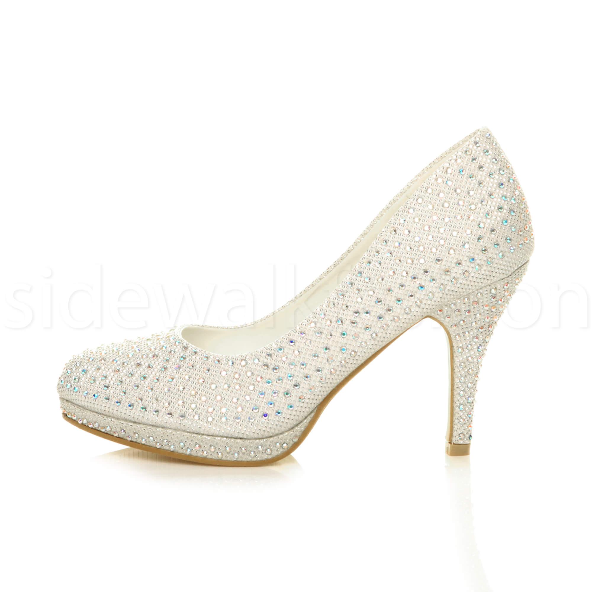 Womens-ladies-high-mid-heel-platform-wedding-evening-bridesmaid-court-shoes-size thumbnail 87