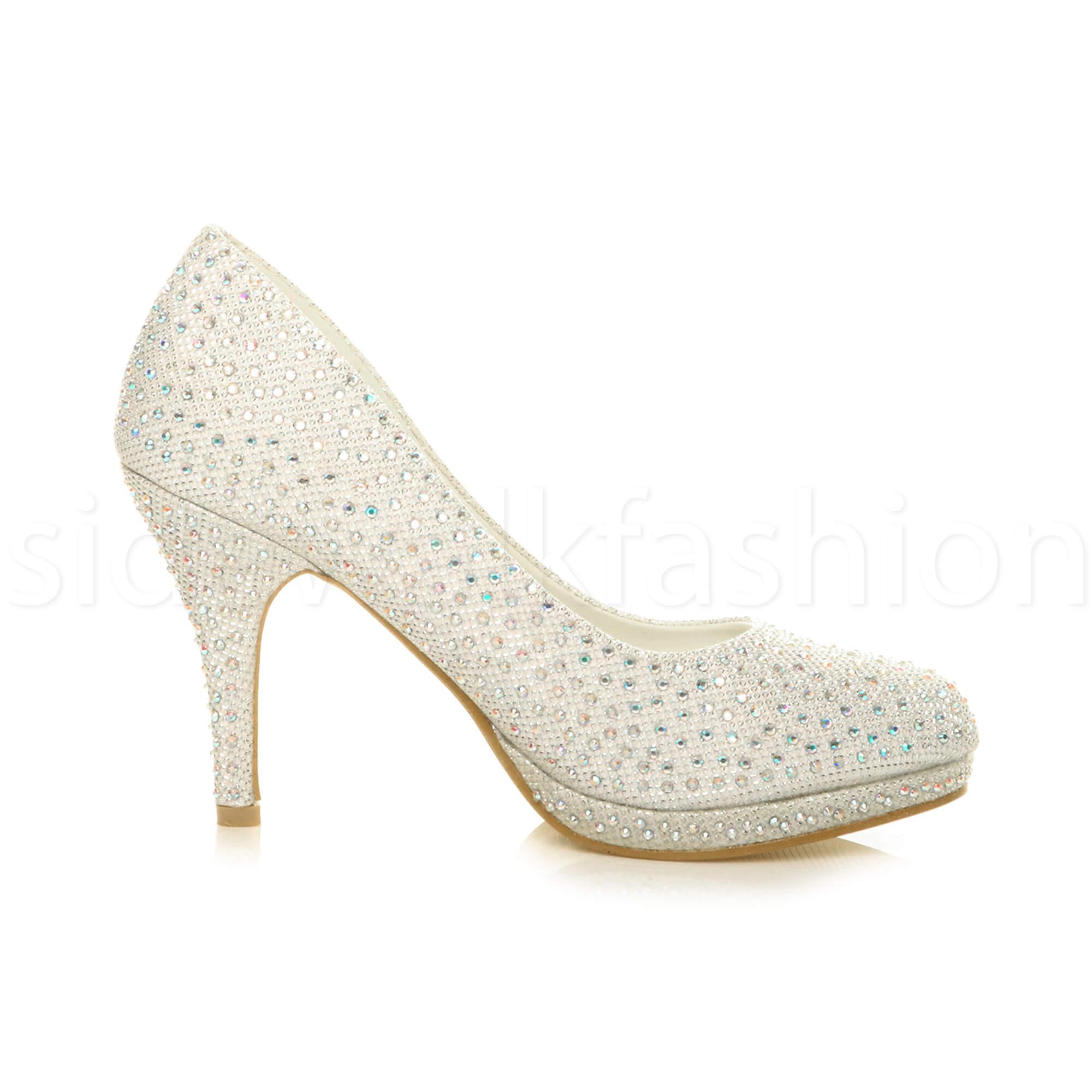 Womens-ladies-high-mid-heel-platform-wedding-evening-bridesmaid-court-shoes-size thumbnail 88