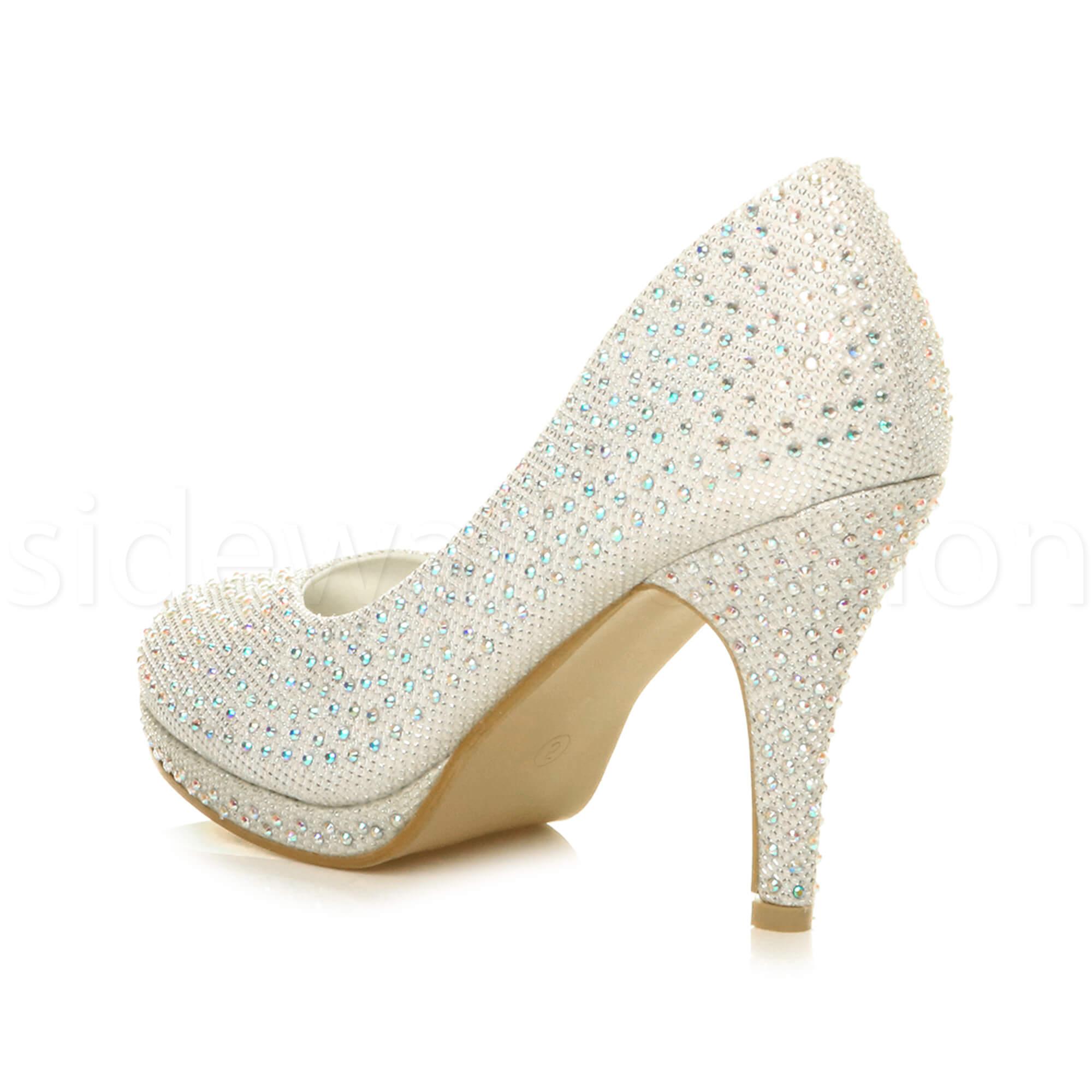 Womens-ladies-high-mid-heel-platform-wedding-evening-bridesmaid-court-shoes-size thumbnail 89