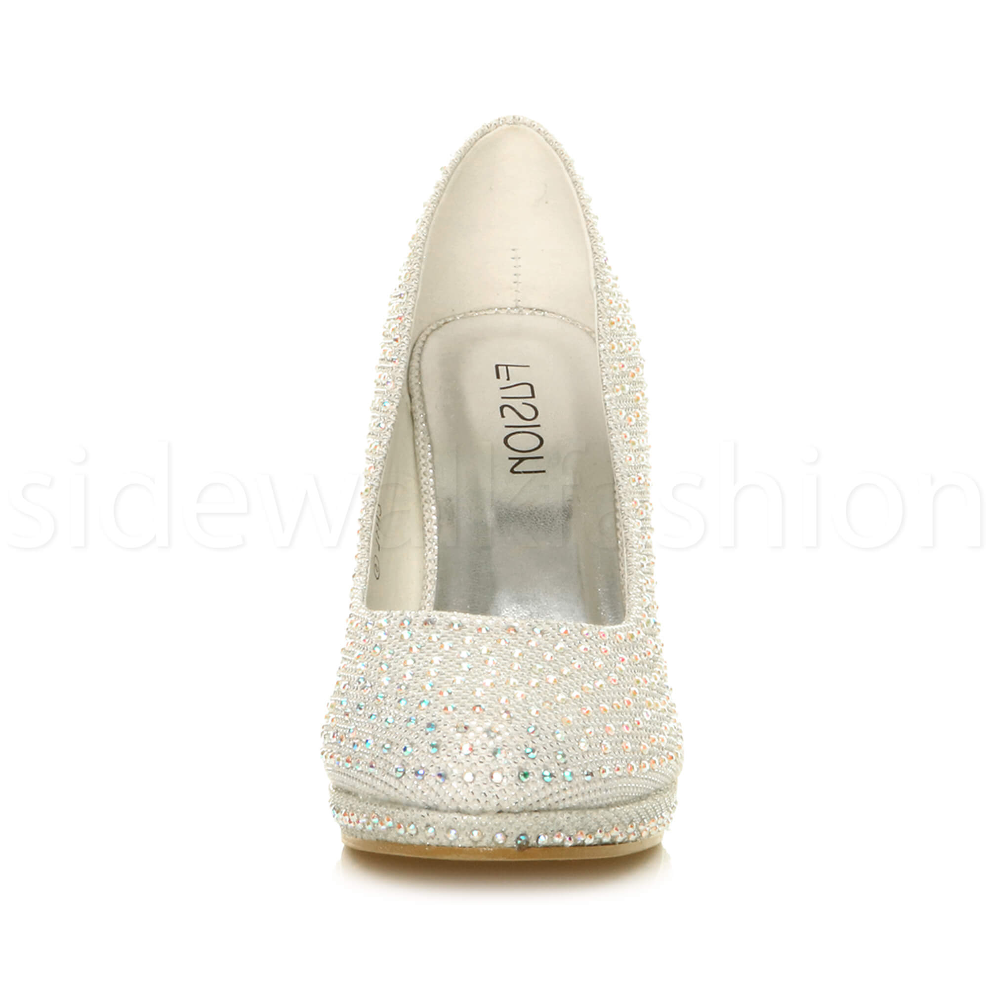 Womens-ladies-high-mid-heel-platform-wedding-evening-bridesmaid-court-shoes-size thumbnail 90