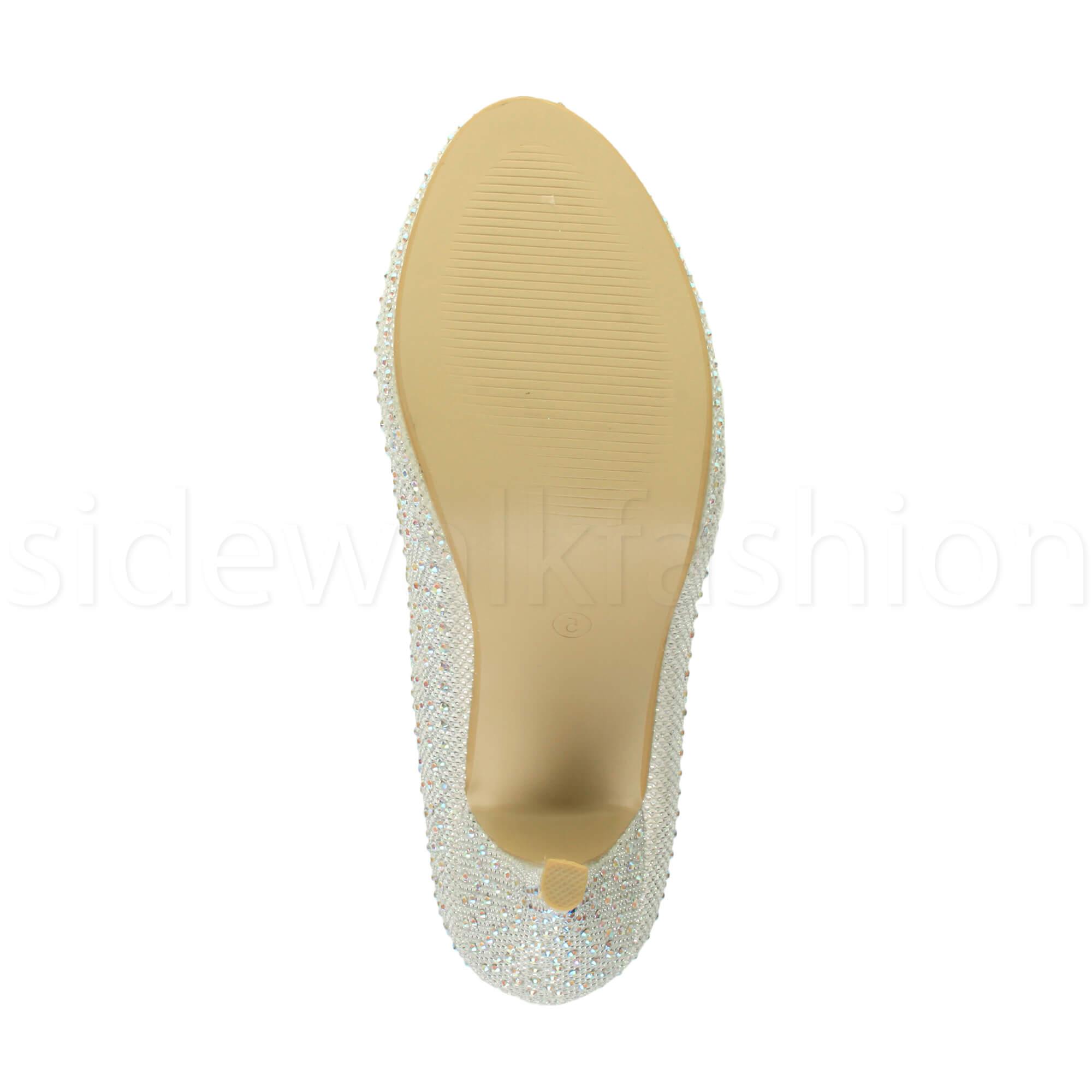 Womens-ladies-high-mid-heel-platform-wedding-evening-bridesmaid-court-shoes-size thumbnail 92