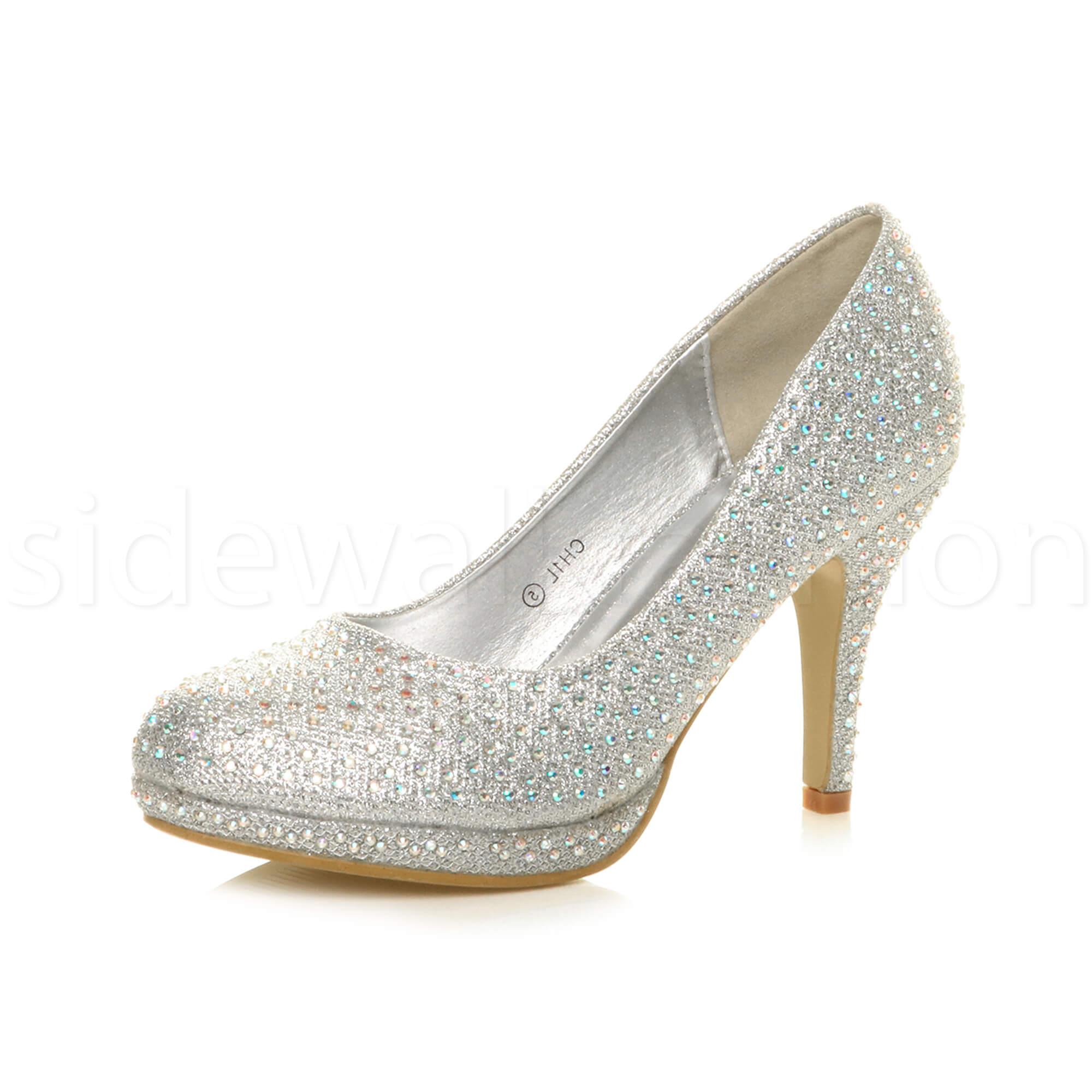 Womens-ladies-high-mid-heel-platform-wedding-evening-bridesmaid-court-shoes-size thumbnail 177