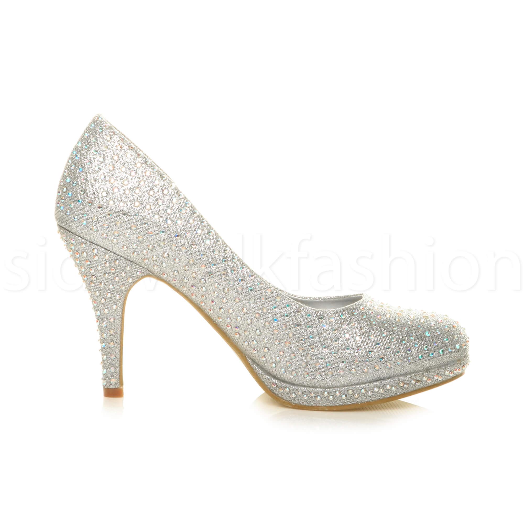 Womens-ladies-high-mid-heel-platform-wedding-evening-bridesmaid-court-shoes-size thumbnail 179