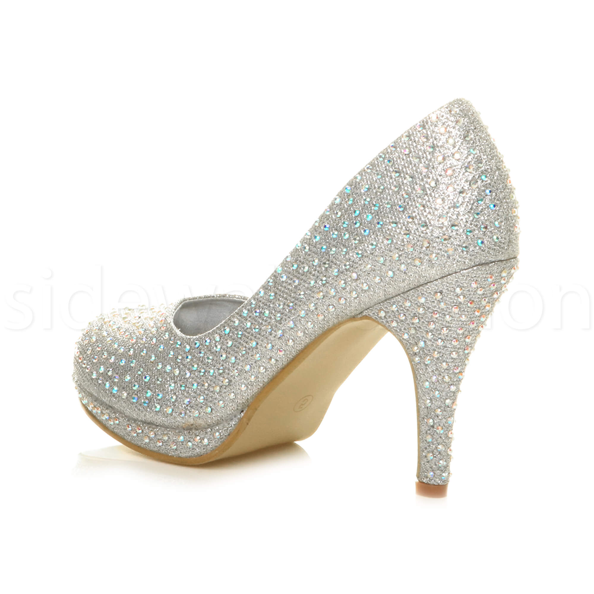Womens-ladies-high-mid-heel-platform-wedding-evening-bridesmaid-court-shoes-size thumbnail 180