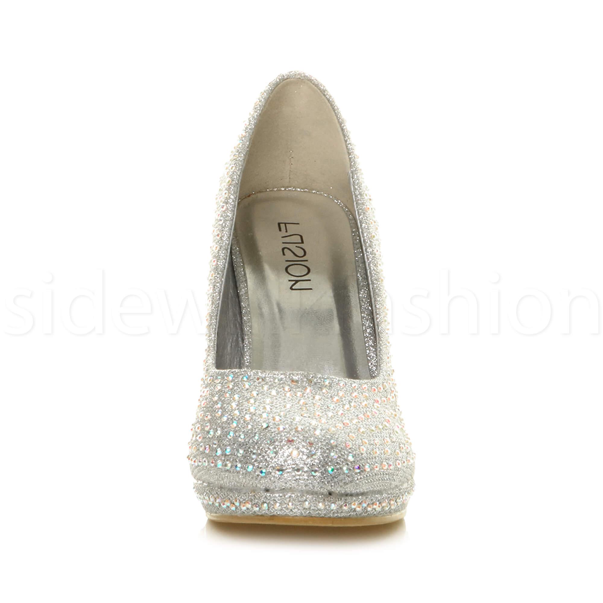 Womens-ladies-high-mid-heel-platform-wedding-evening-bridesmaid-court-shoes-size thumbnail 181