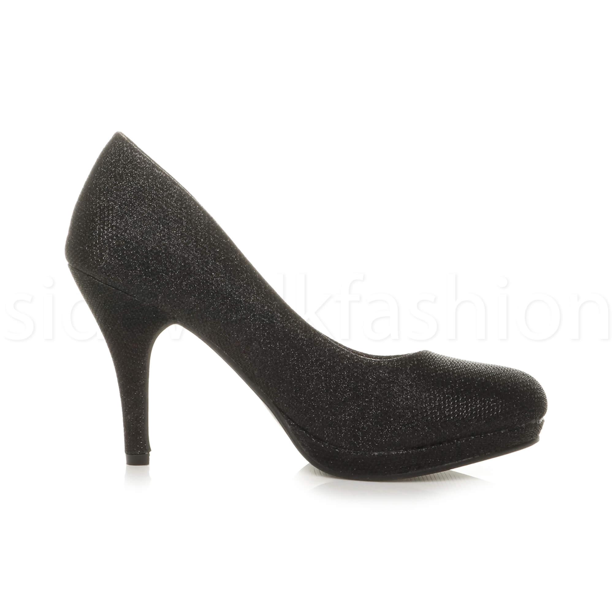 Womens-ladies-high-mid-heel-platform-wedding-evening-bridesmaid-court-shoes-size thumbnail 11