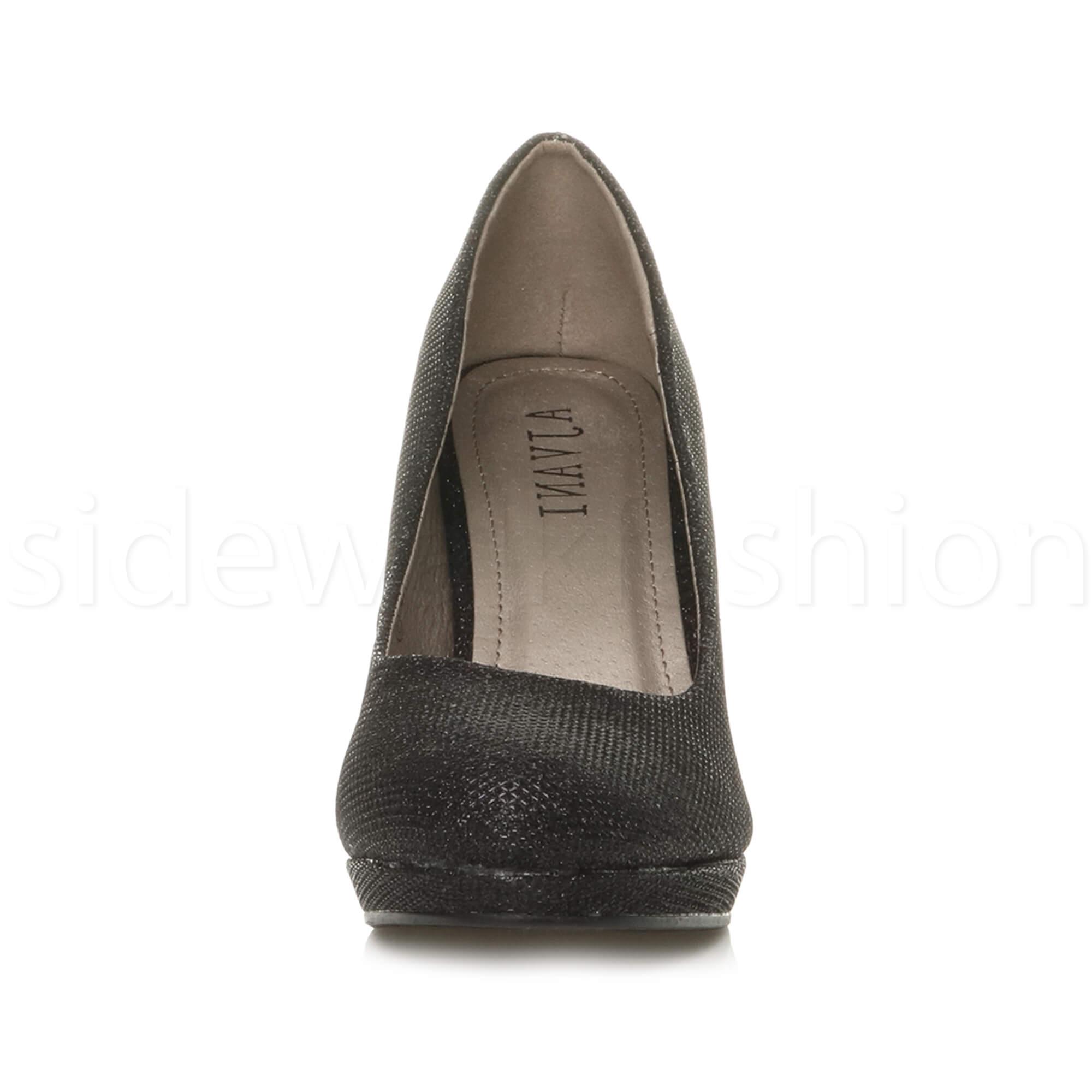 Womens-ladies-high-mid-heel-platform-wedding-evening-bridesmaid-court-shoes-size thumbnail 13