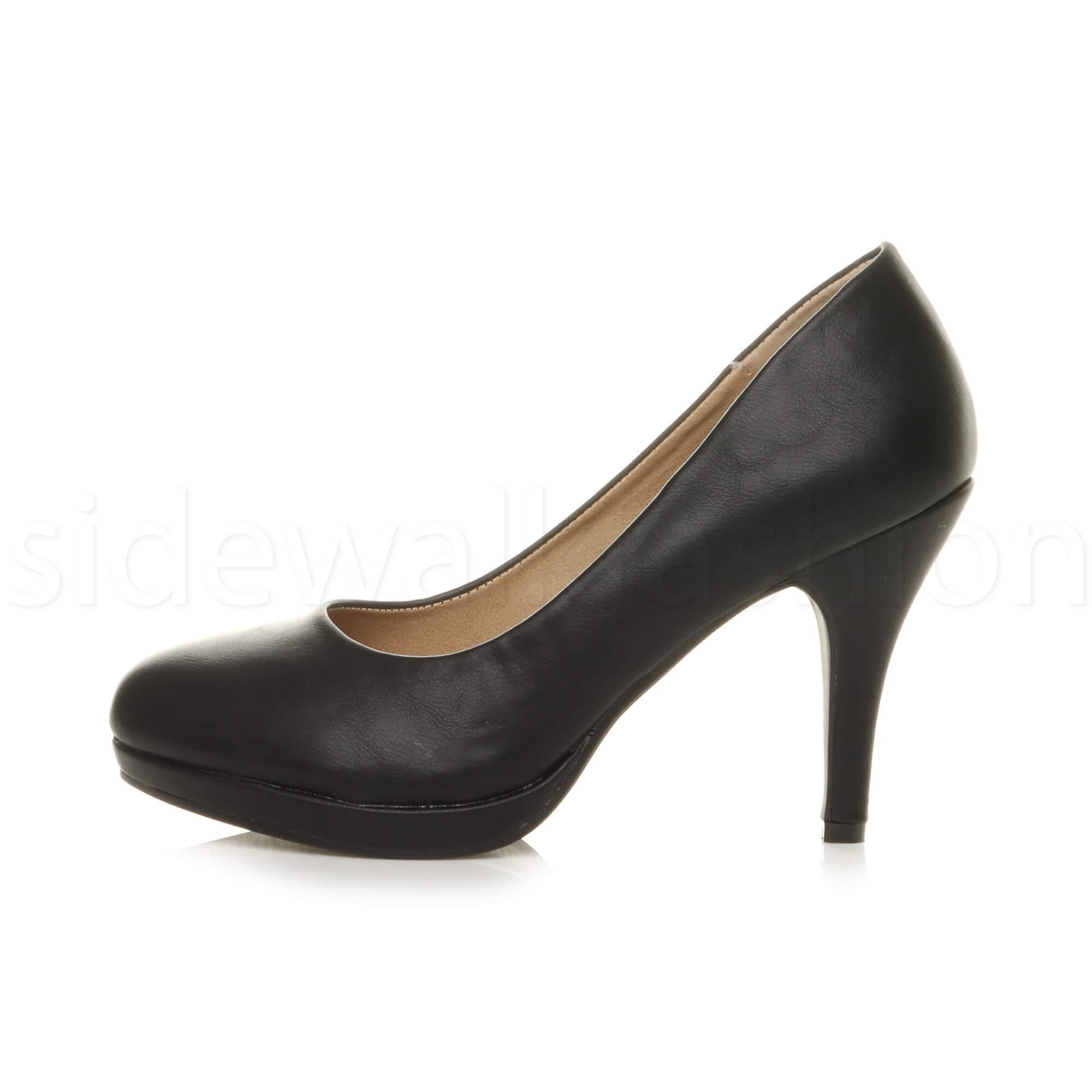 Womens-ladies-high-mid-heel-platform-wedding-evening-bridesmaid-court-shoes-size thumbnail 17