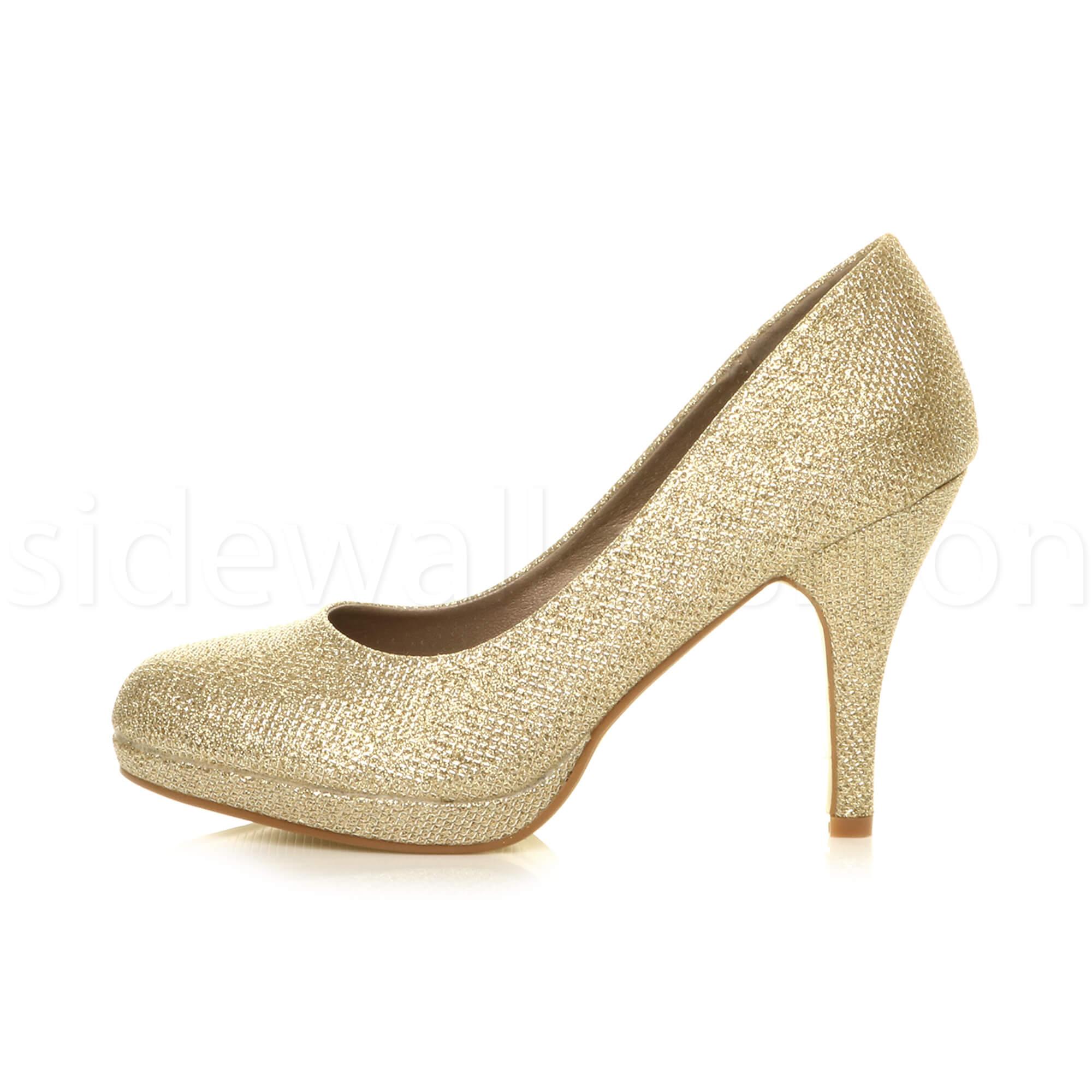 Womens-ladies-high-mid-heel-platform-wedding-evening-bridesmaid-court-shoes-size thumbnail 66