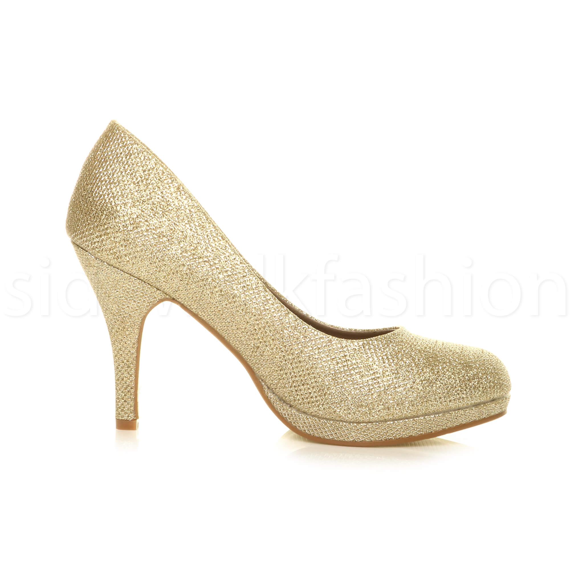 Womens-ladies-high-mid-heel-platform-wedding-evening-bridesmaid-court-shoes-size thumbnail 67
