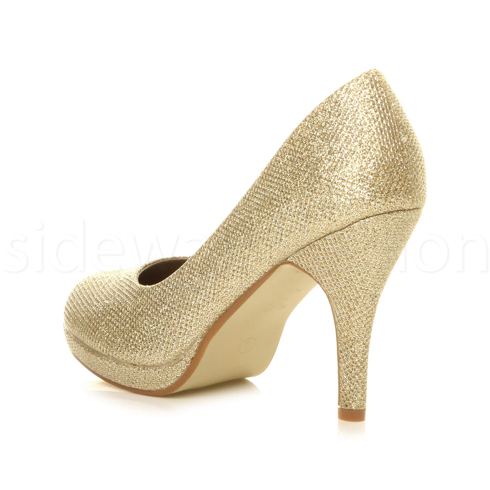 Womens-ladies-high-mid-heel-platform-wedding-evening-bridesmaid-court-shoes-size thumbnail 68