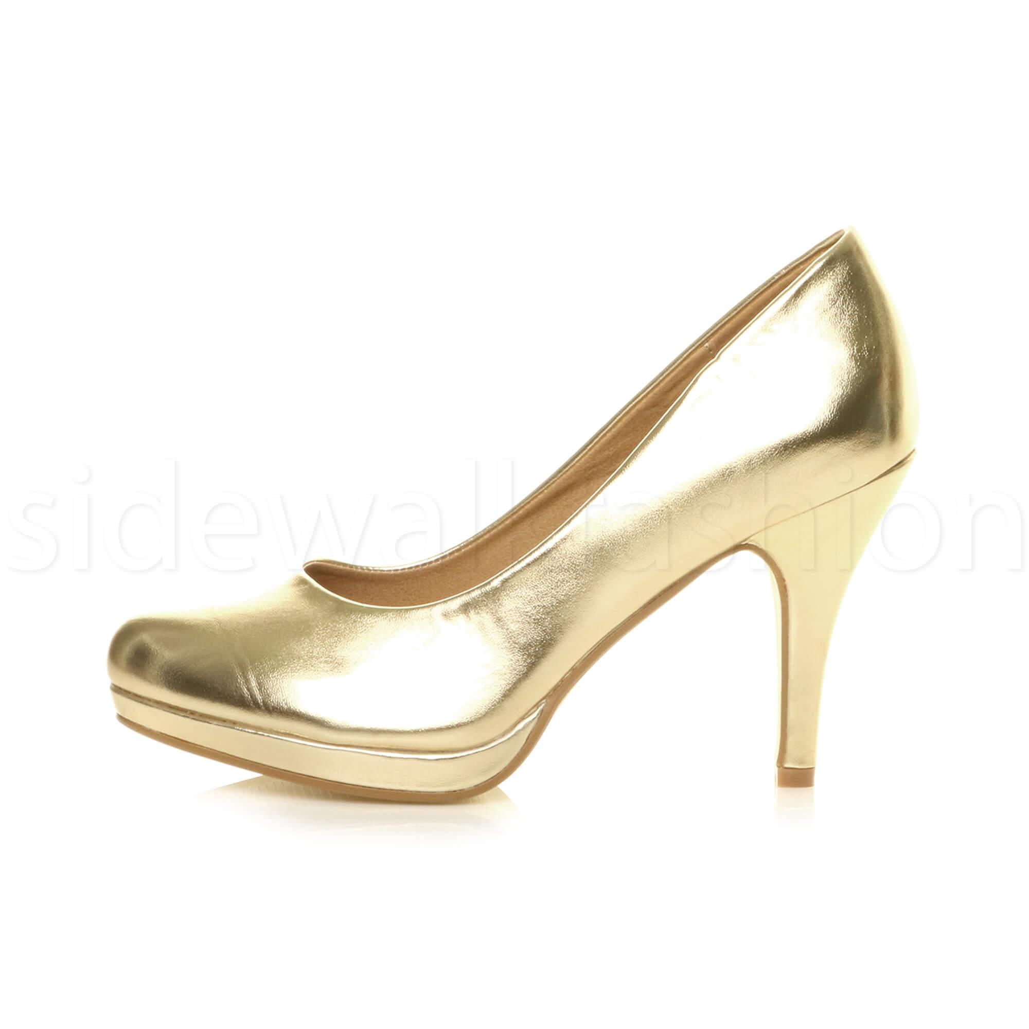 Womens-ladies-high-mid-heel-platform-wedding-evening-bridesmaid-court-shoes-size thumbnail 59